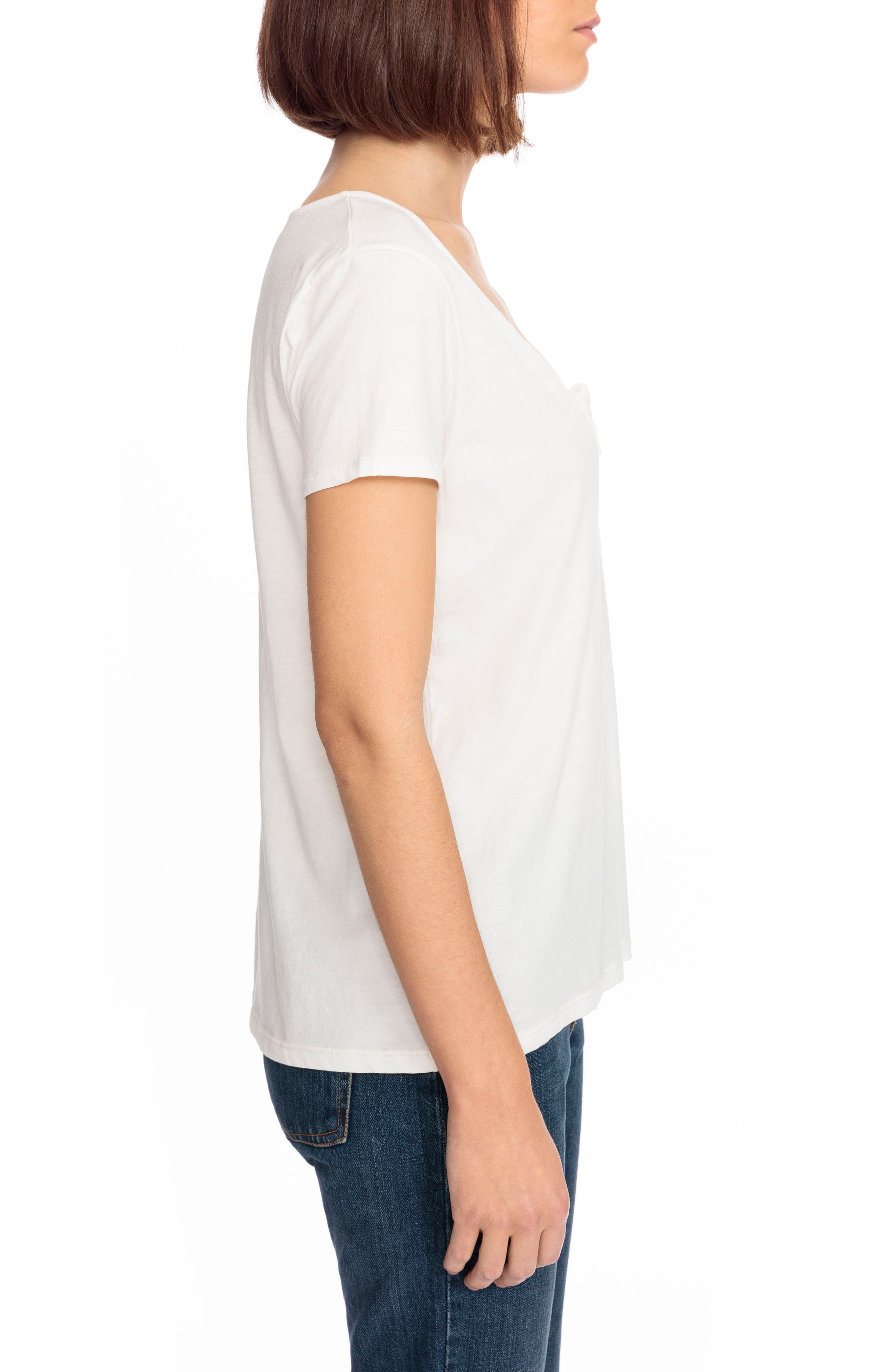 Lilian Tie Scoop Neck Tee,                             Alternate thumbnail 4, color,                             Off White