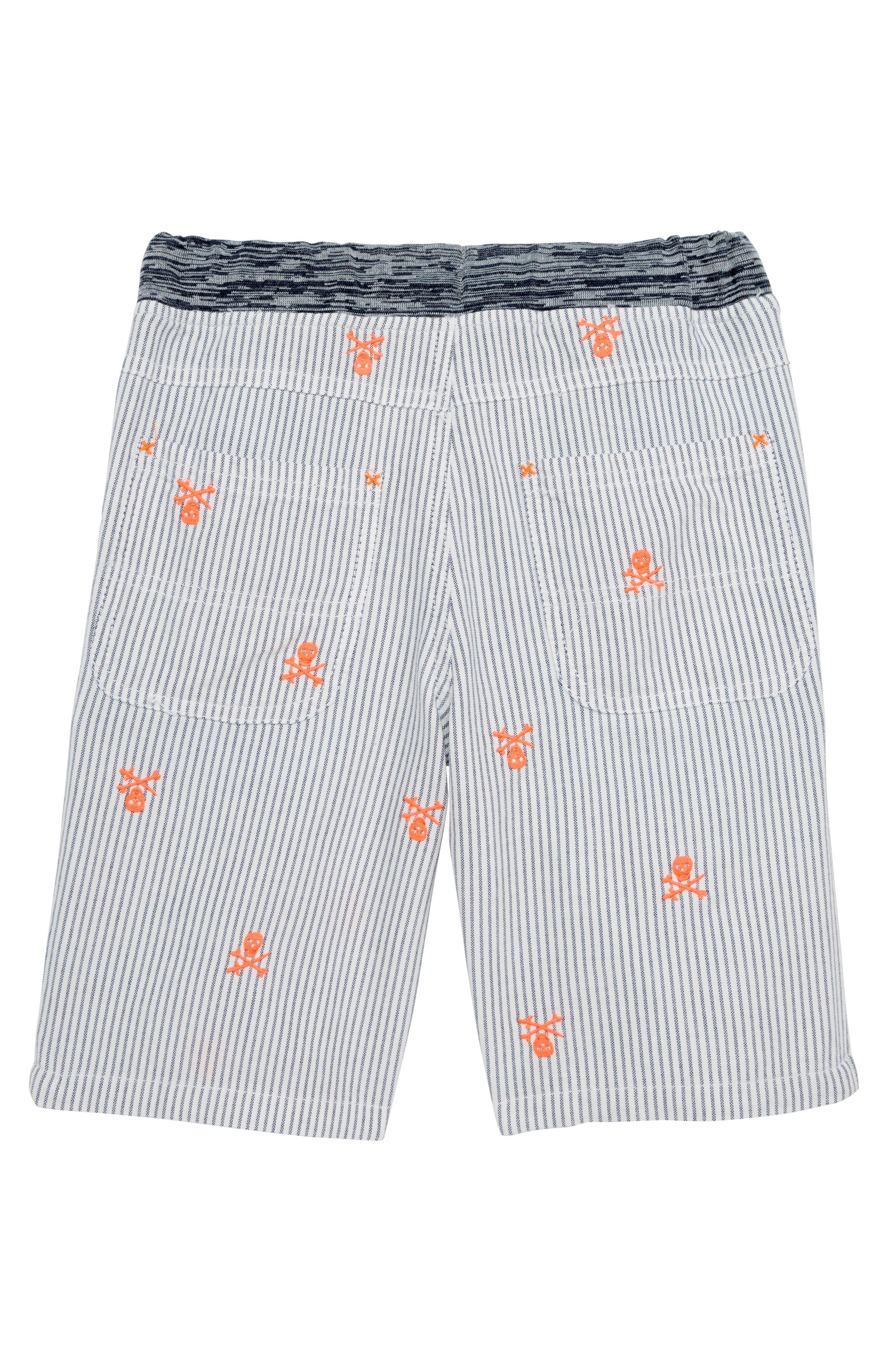 Rib Waist Shorts,                             Alternate thumbnail 3, color,                             Beacon Blue/ Ecru Skulls