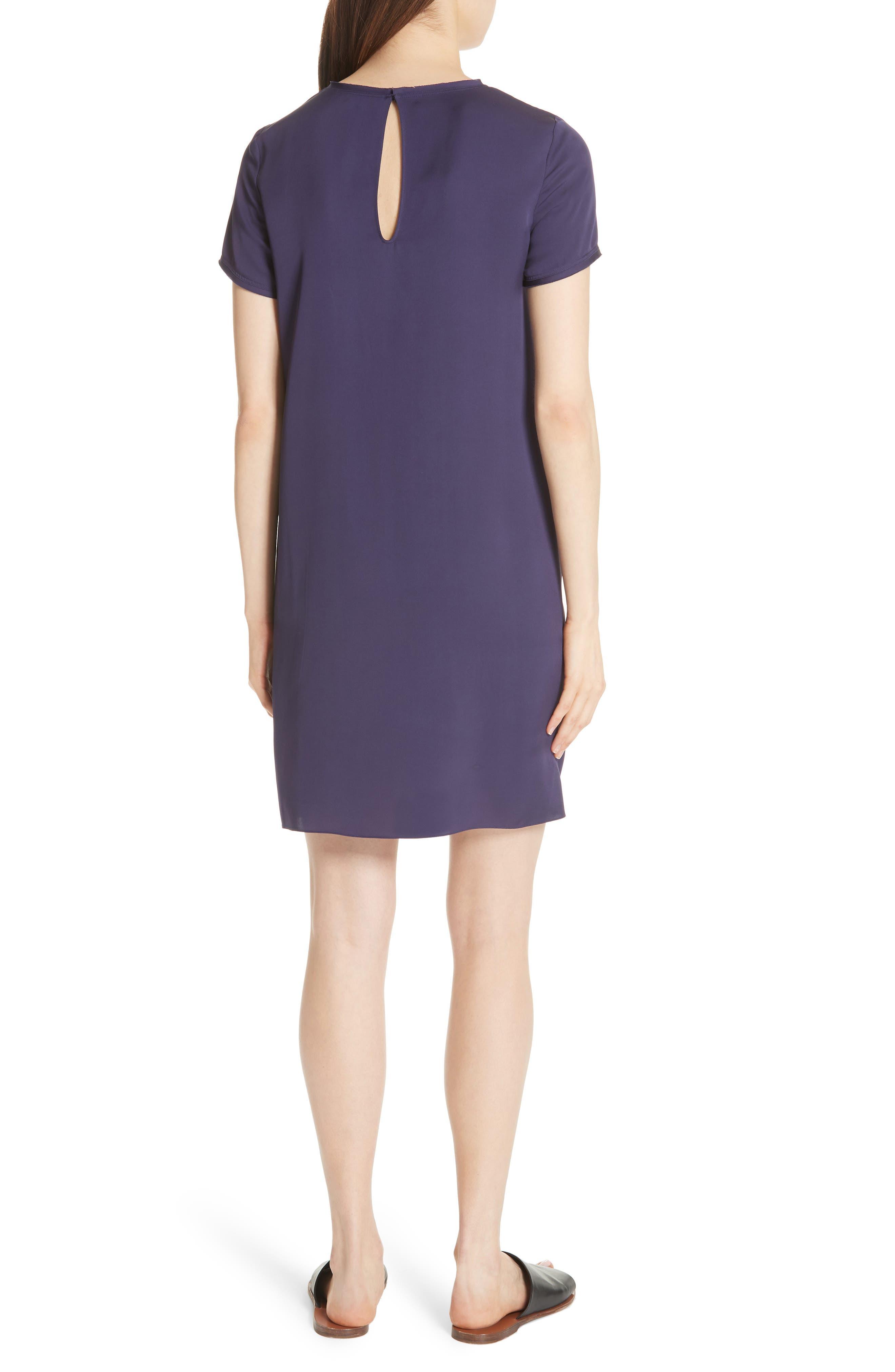 Modern Silk T-Shirt Dress,                             Alternate thumbnail 2, color,                             Plum Purple