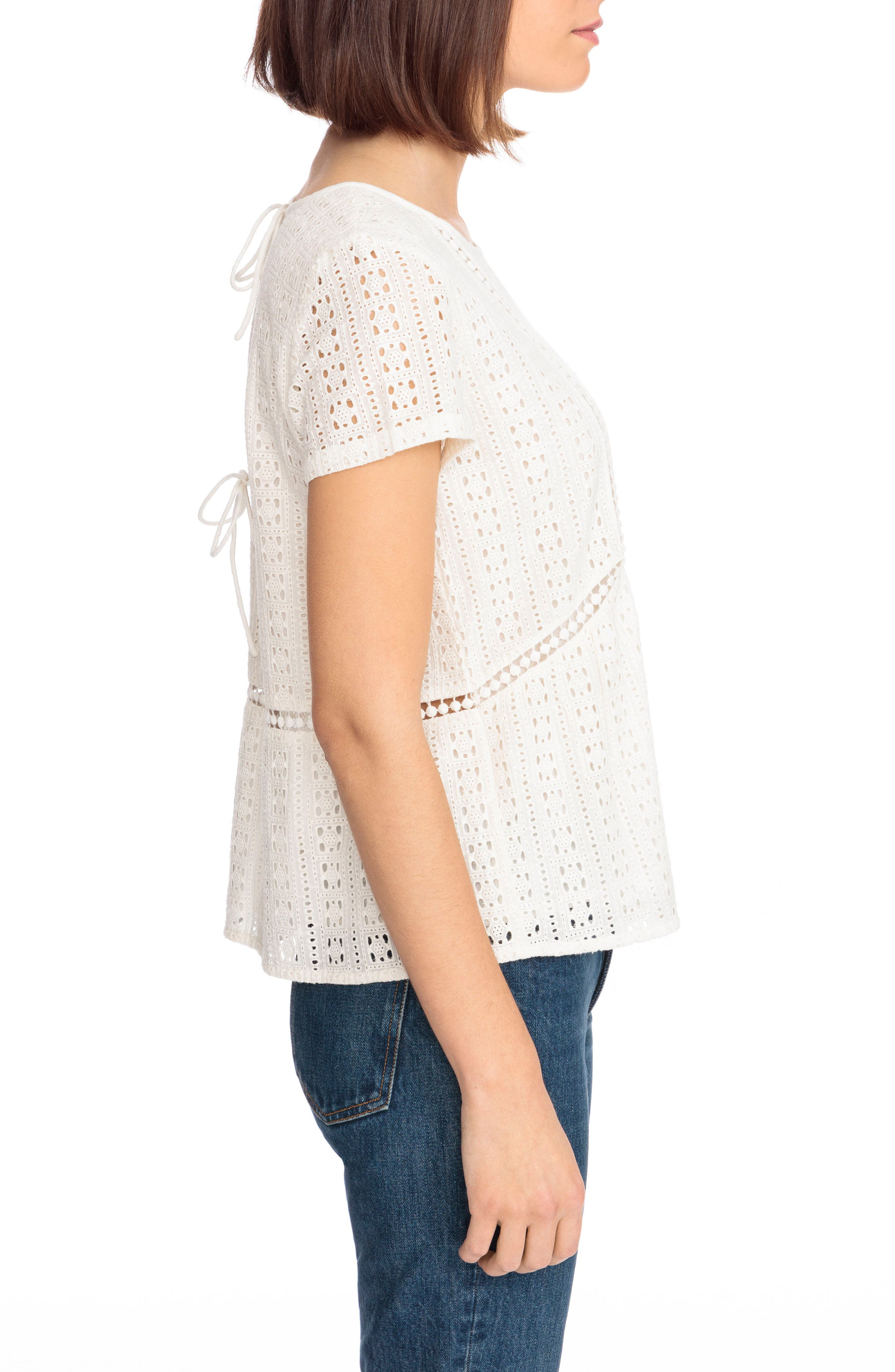 Clo Crochet Blouse,                             Alternate thumbnail 3, color,                             Off White