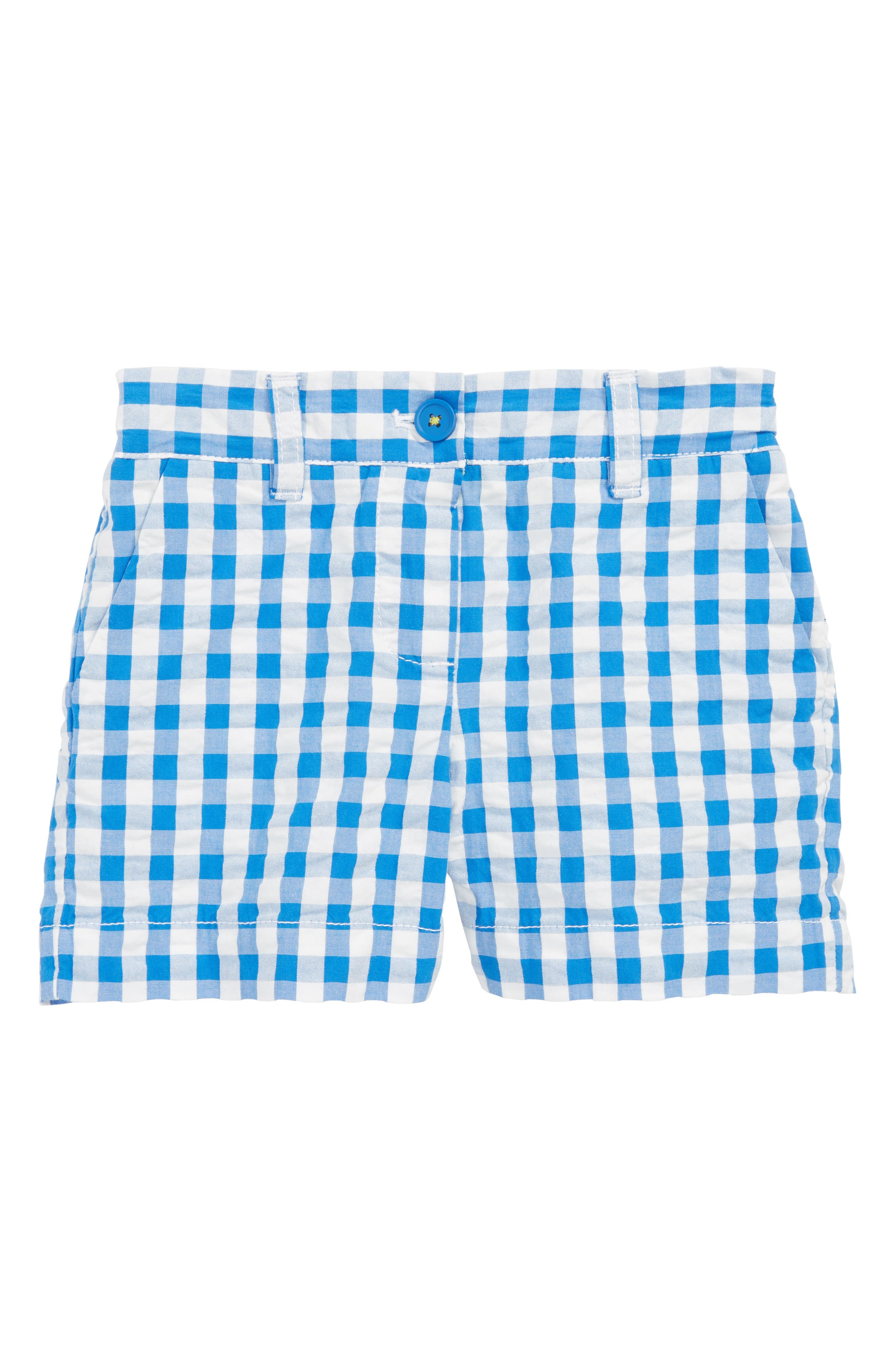 Bright Adventure Shorts,                             Main thumbnail 1, color,                             Skipper Blue Gingham Blu