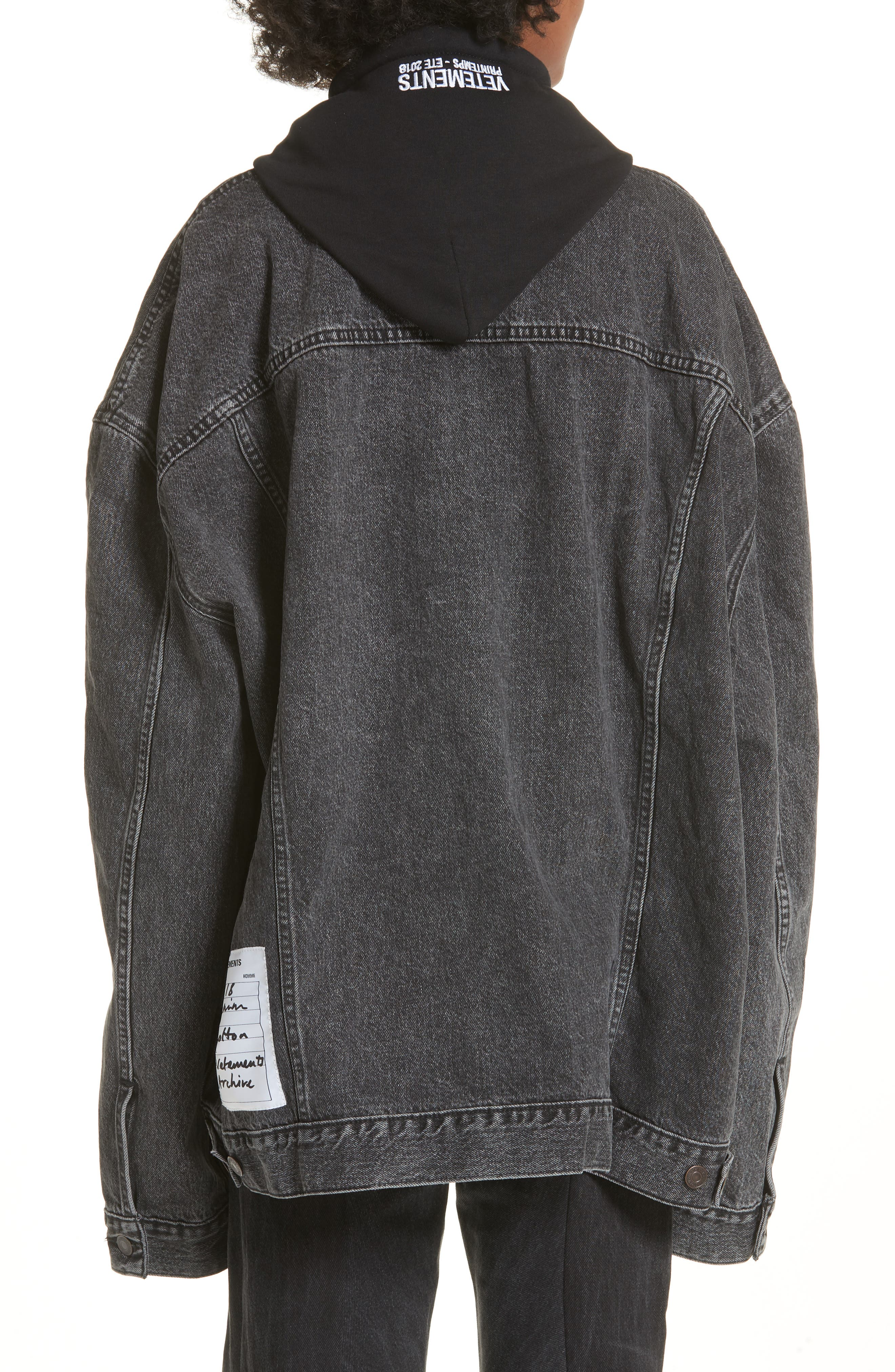 Oversized Removable Hood Denim Jacket,                             Alternate thumbnail 2, color,                             Black