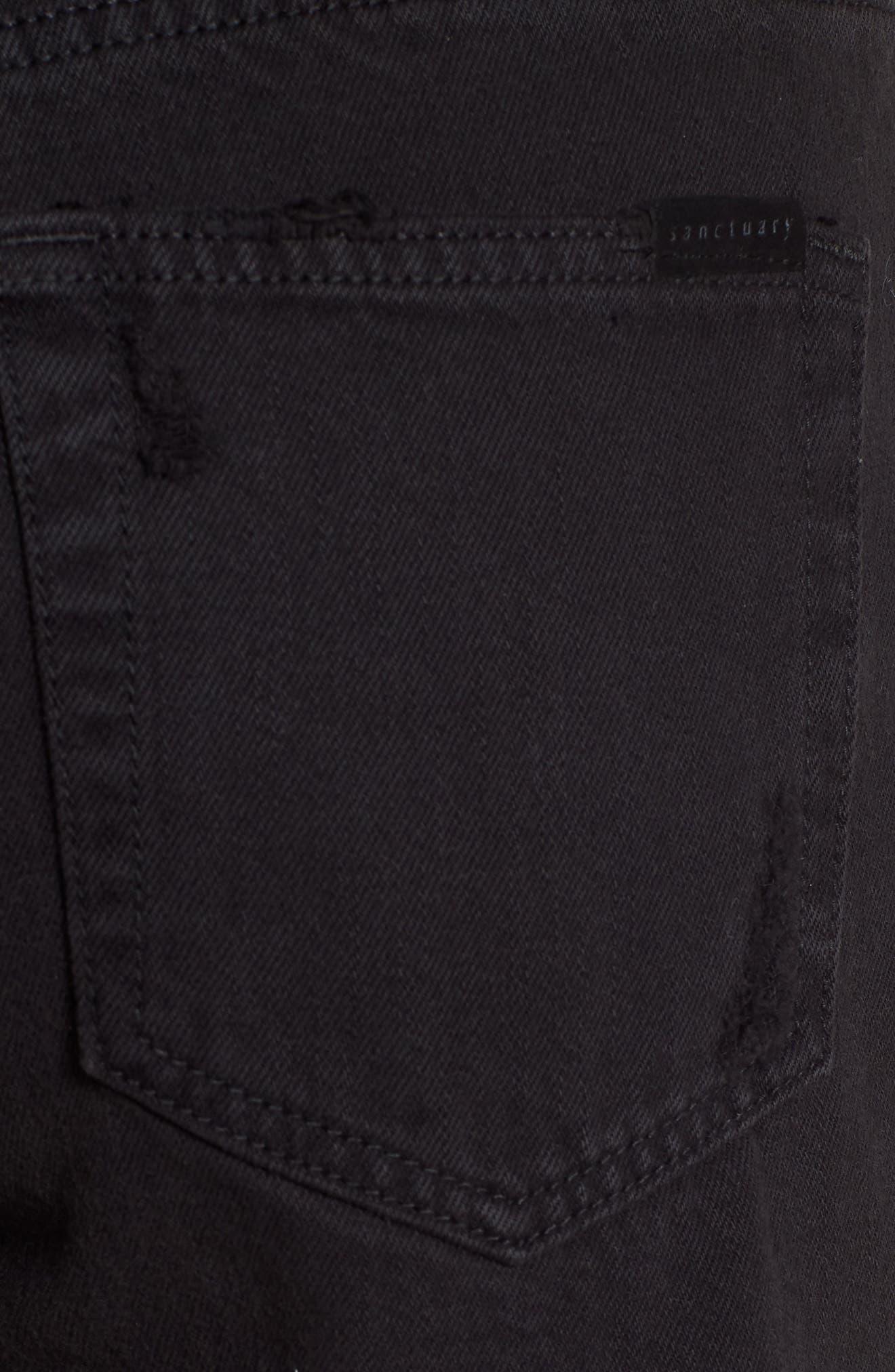 Black Midi Fray Shorts,                             Alternate thumbnail 4, color,                             Faded Black