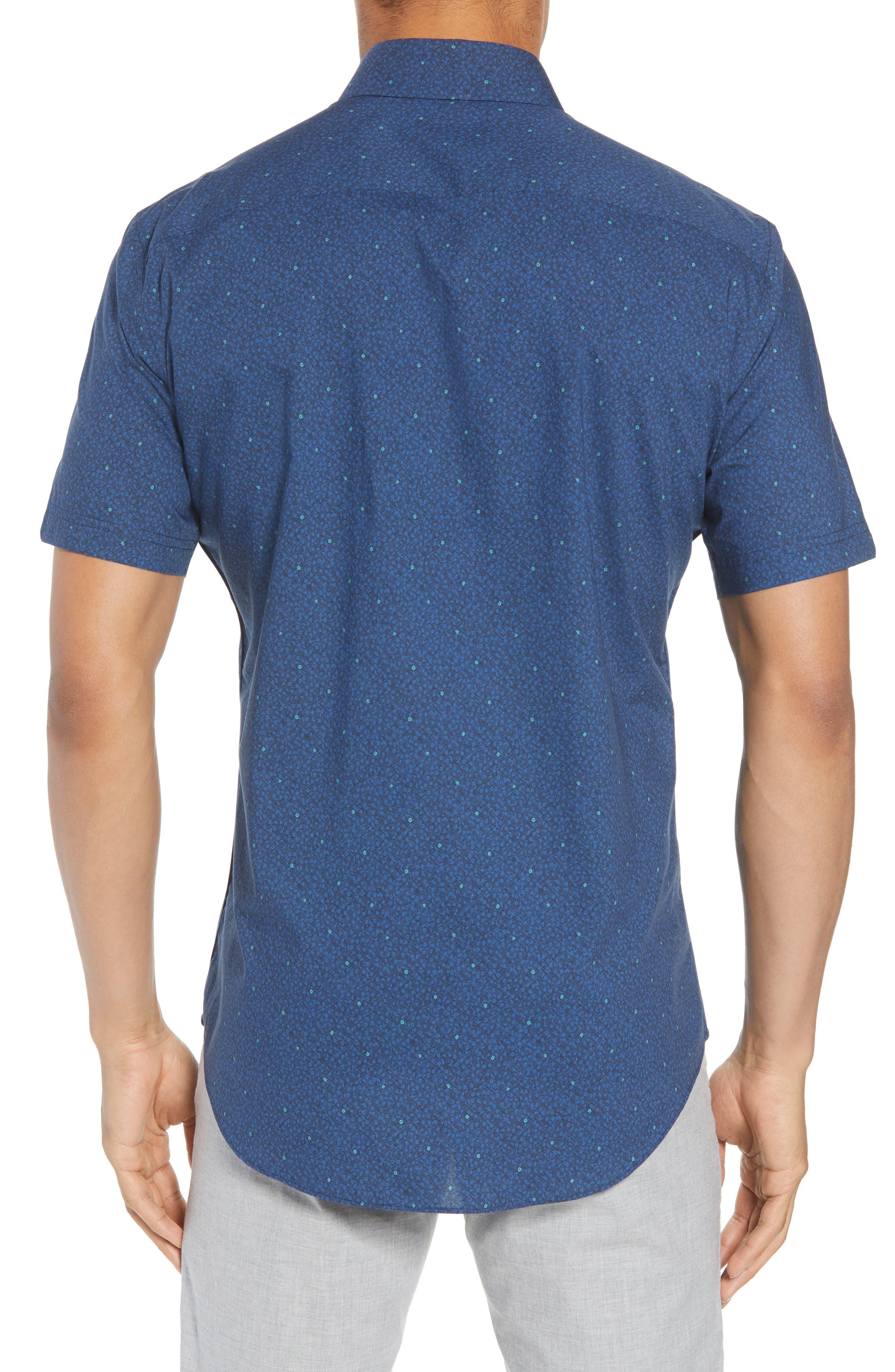 Wichert Trim Fit Floral Print Sport Shirt,                             Alternate thumbnail 3, color,                             Dark Blue