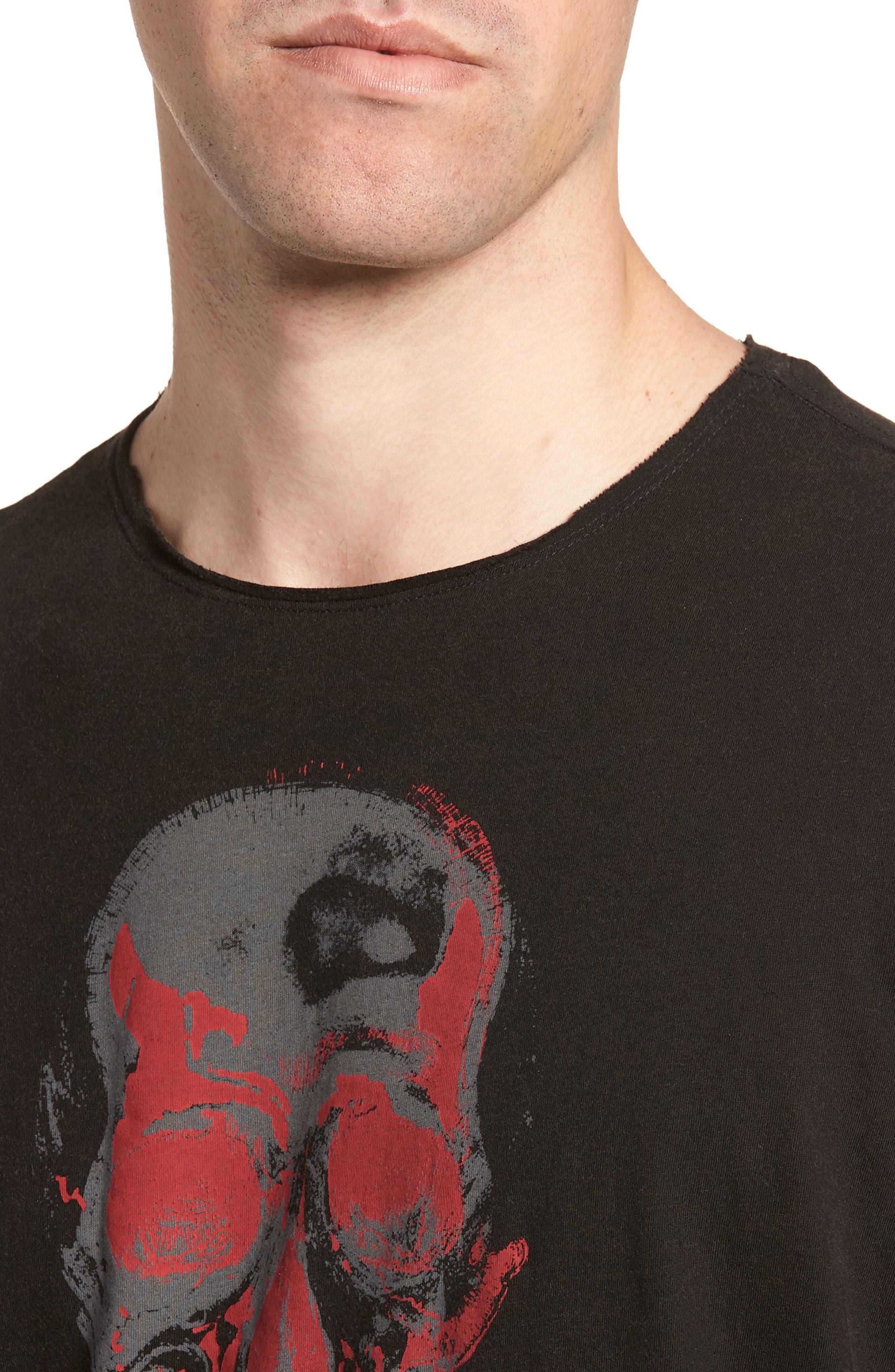 Skull Crewneck T-Shirt,                             Alternate thumbnail 4, color,                             Black