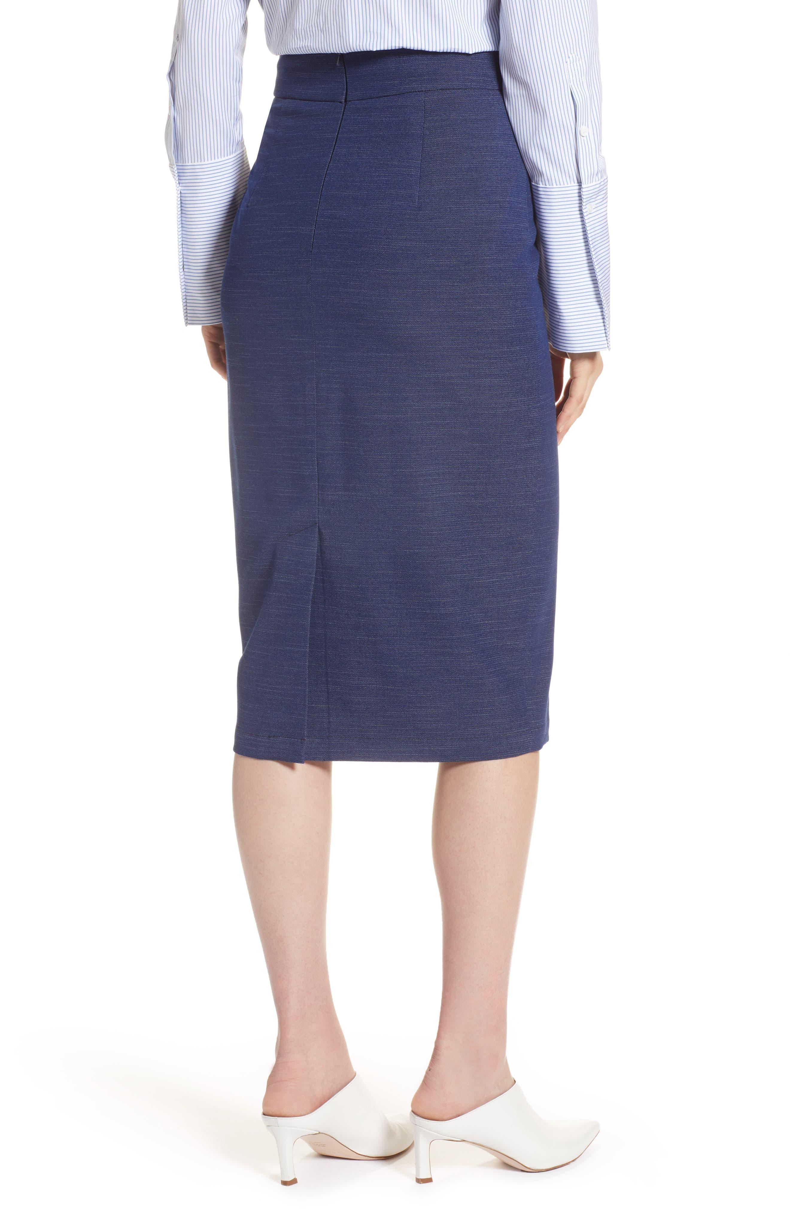 High Waist Chambray Skirt,                             Alternate thumbnail 2, color,                             Dark Chambray