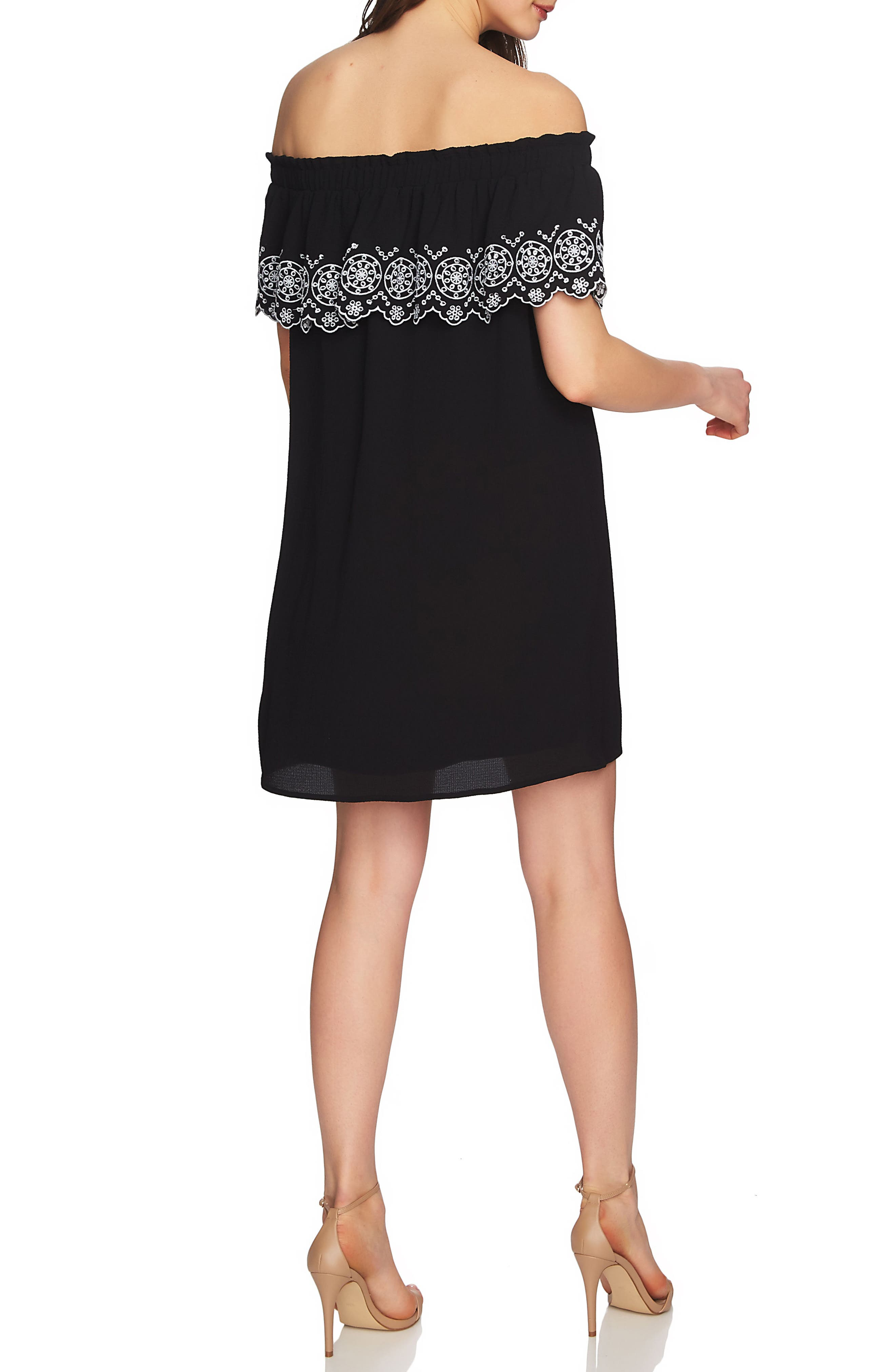 Tenley Off the Shoulder Embroidered Dress,                             Alternate thumbnail 3, color,                             Rich Black