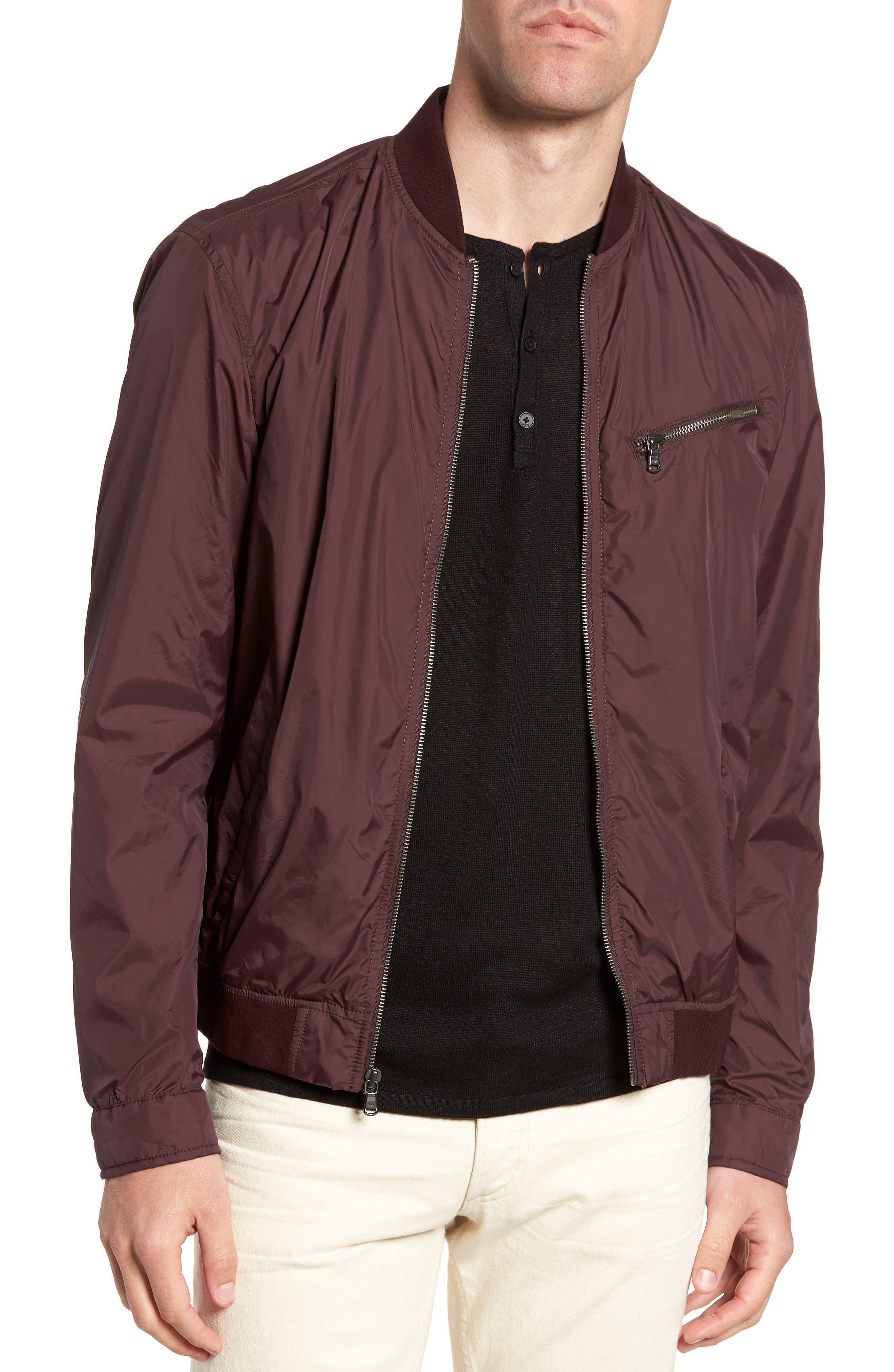Slim Fit Bomber Jacket,                         Main,                         color, Merlot