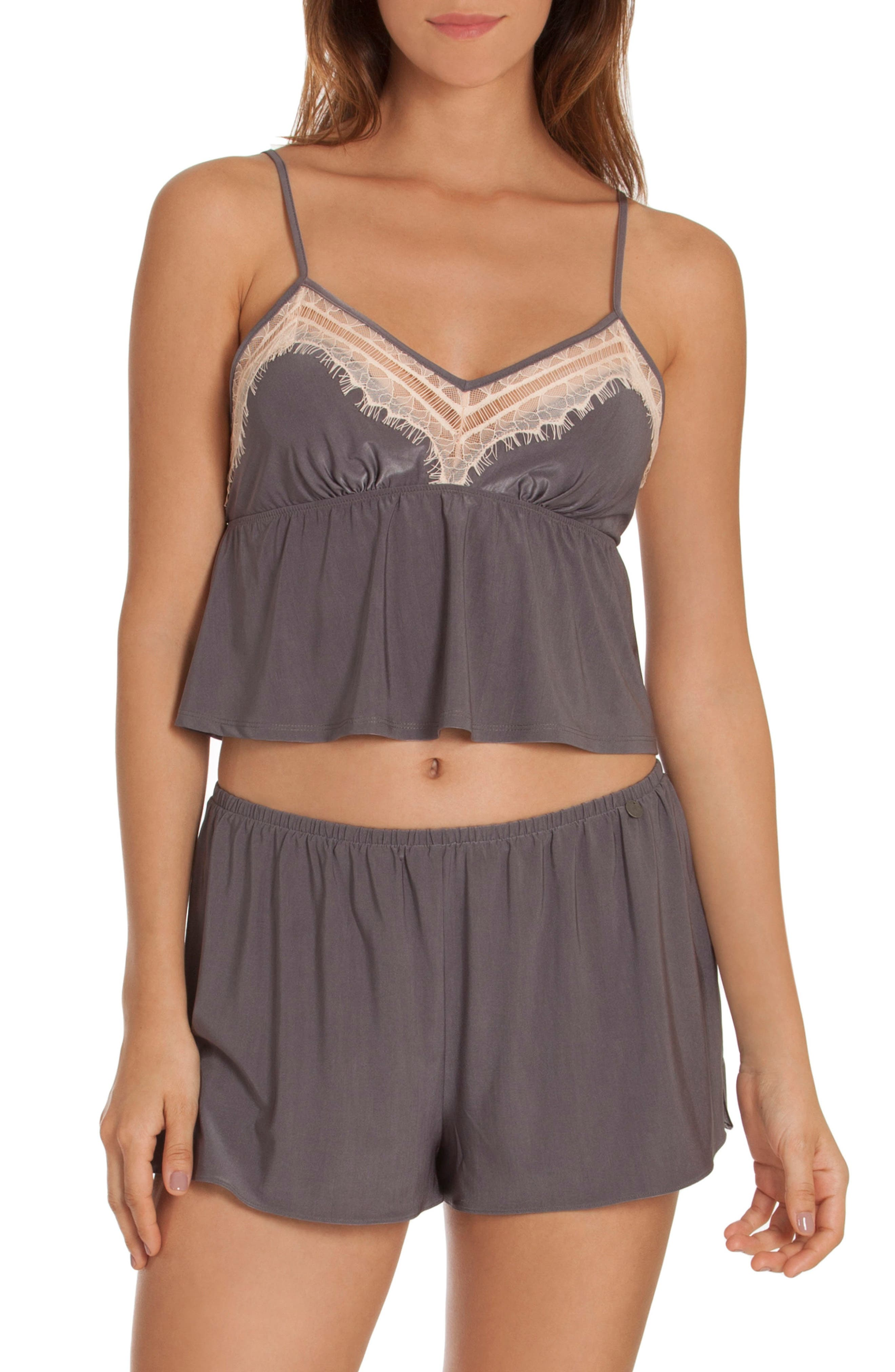 Cropped Camisole,                             Main thumbnail 1, color,                             Charcoal