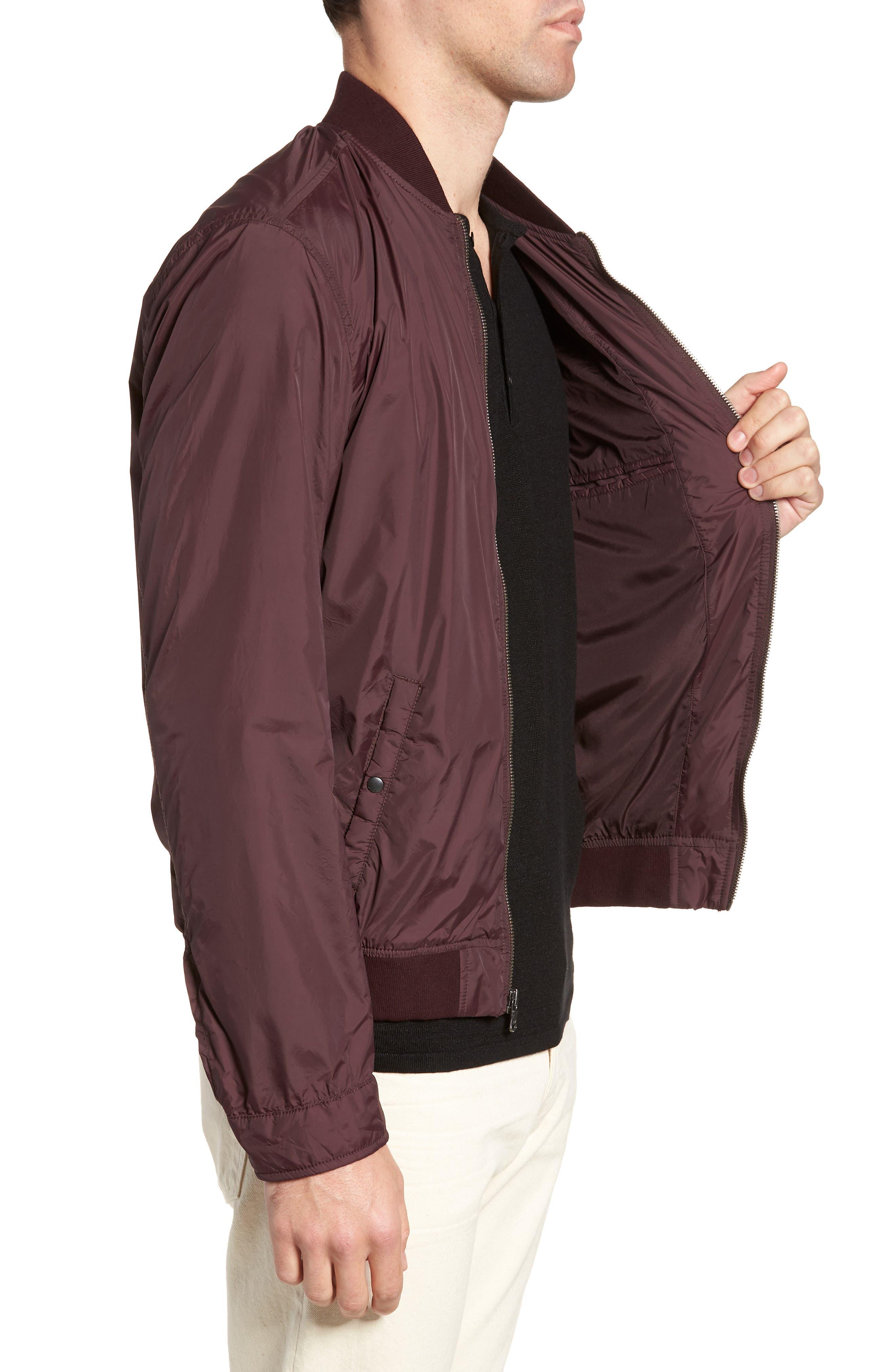 Slim Fit Bomber Jacket,                             Alternate thumbnail 3, color,                             Merlot