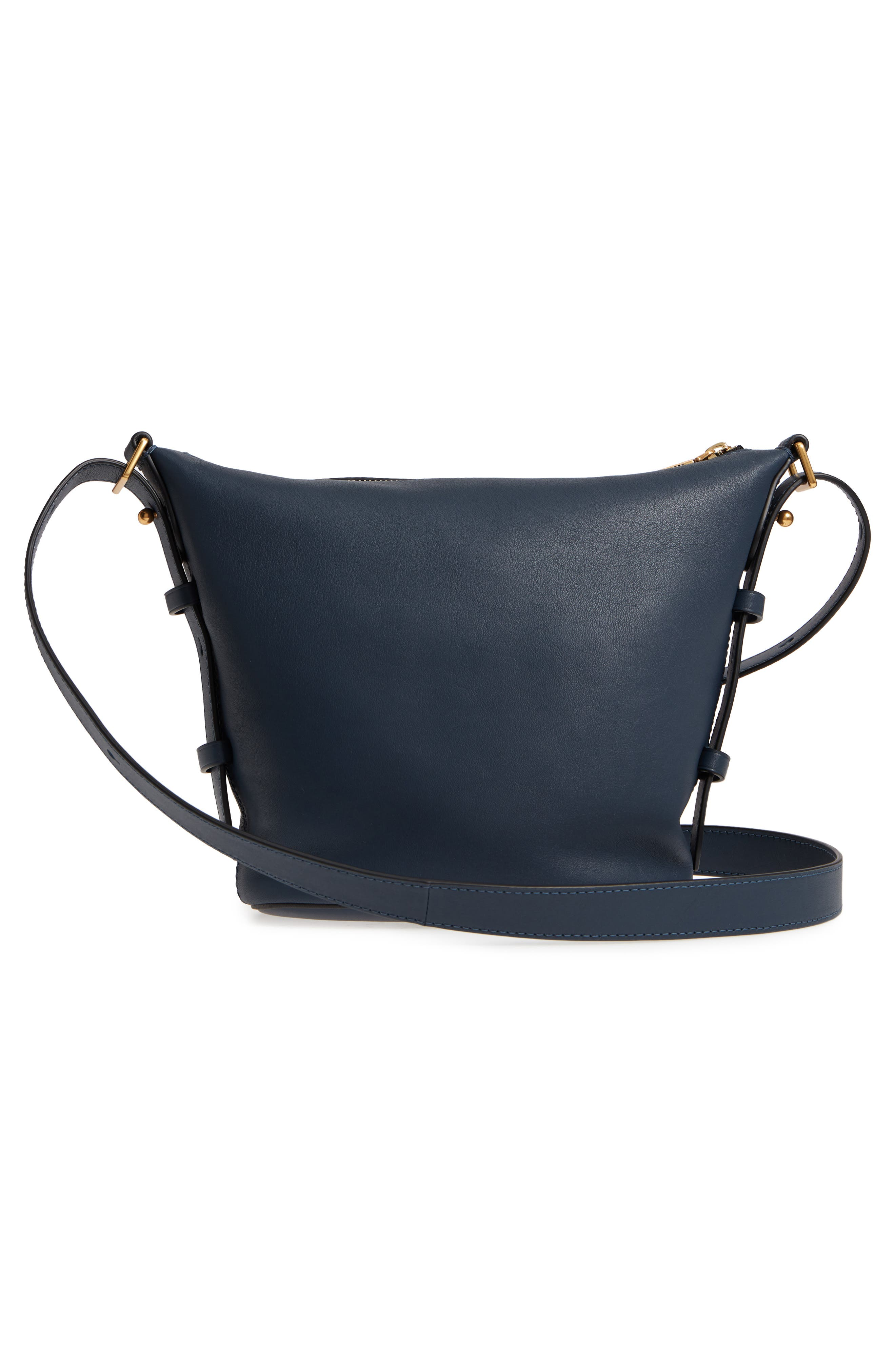 The Mini Sling Convertible Leather Hobo,                             Alternate thumbnail 3, color,                             Blue Sea