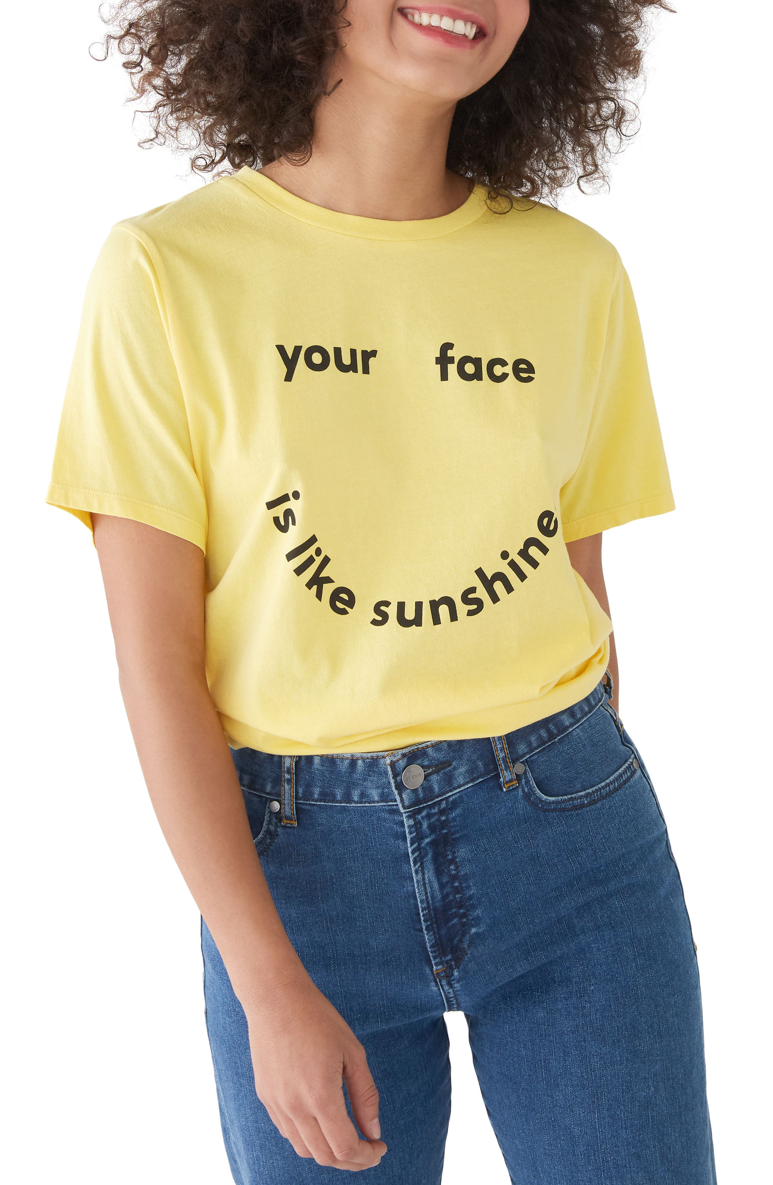 Your Face Is Like Sunshine Classic Tee,                             Main thumbnail 1, color,                             Butter Yellow