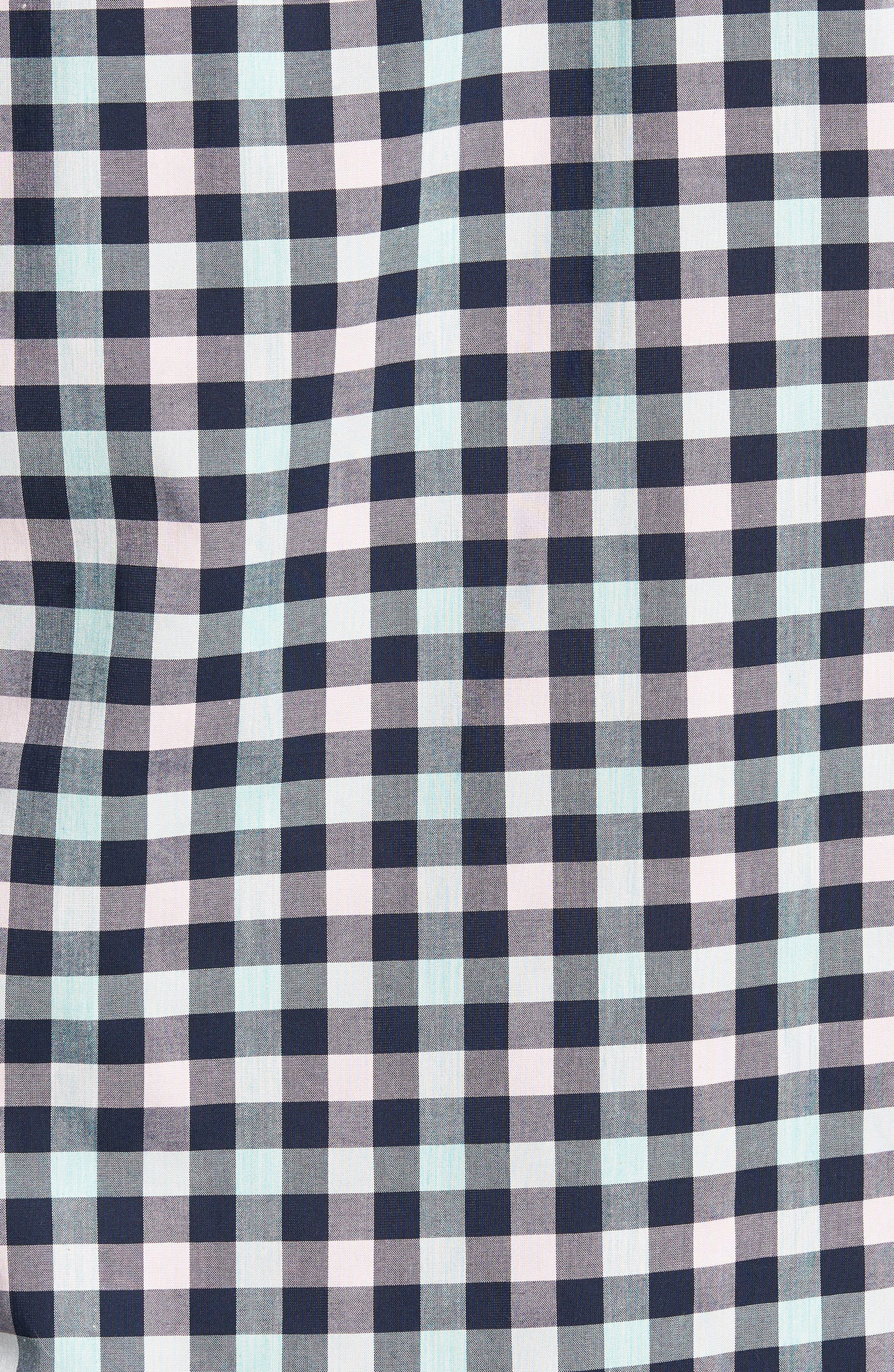 Tech-Smart Trim Fit Check Sport Shirt,                             Alternate thumbnail 5, color,                             Navy Iris Teal Check
