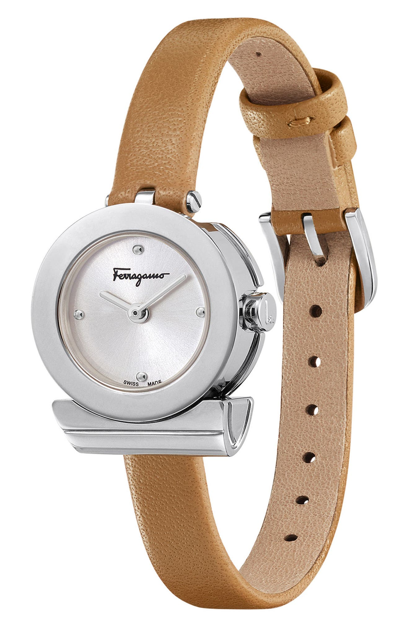 Gancino Leather Bracelet Watch, 22mm,                             Alternate thumbnail 3, color,                             Brown/ Silver