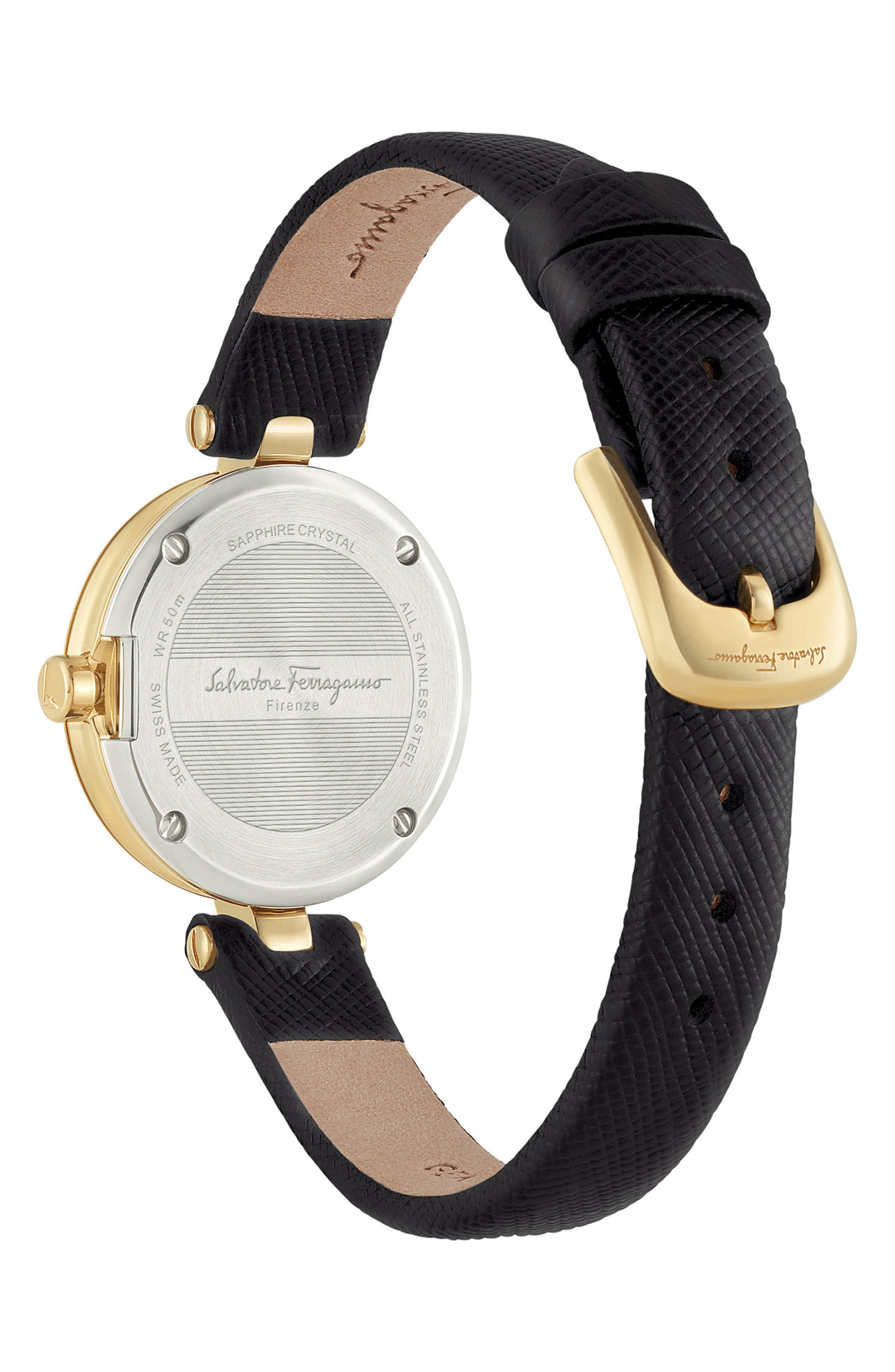 Miniature Leather Strap Watch, 26mm,                             Alternate thumbnail 2, color,                             Black/ Gold