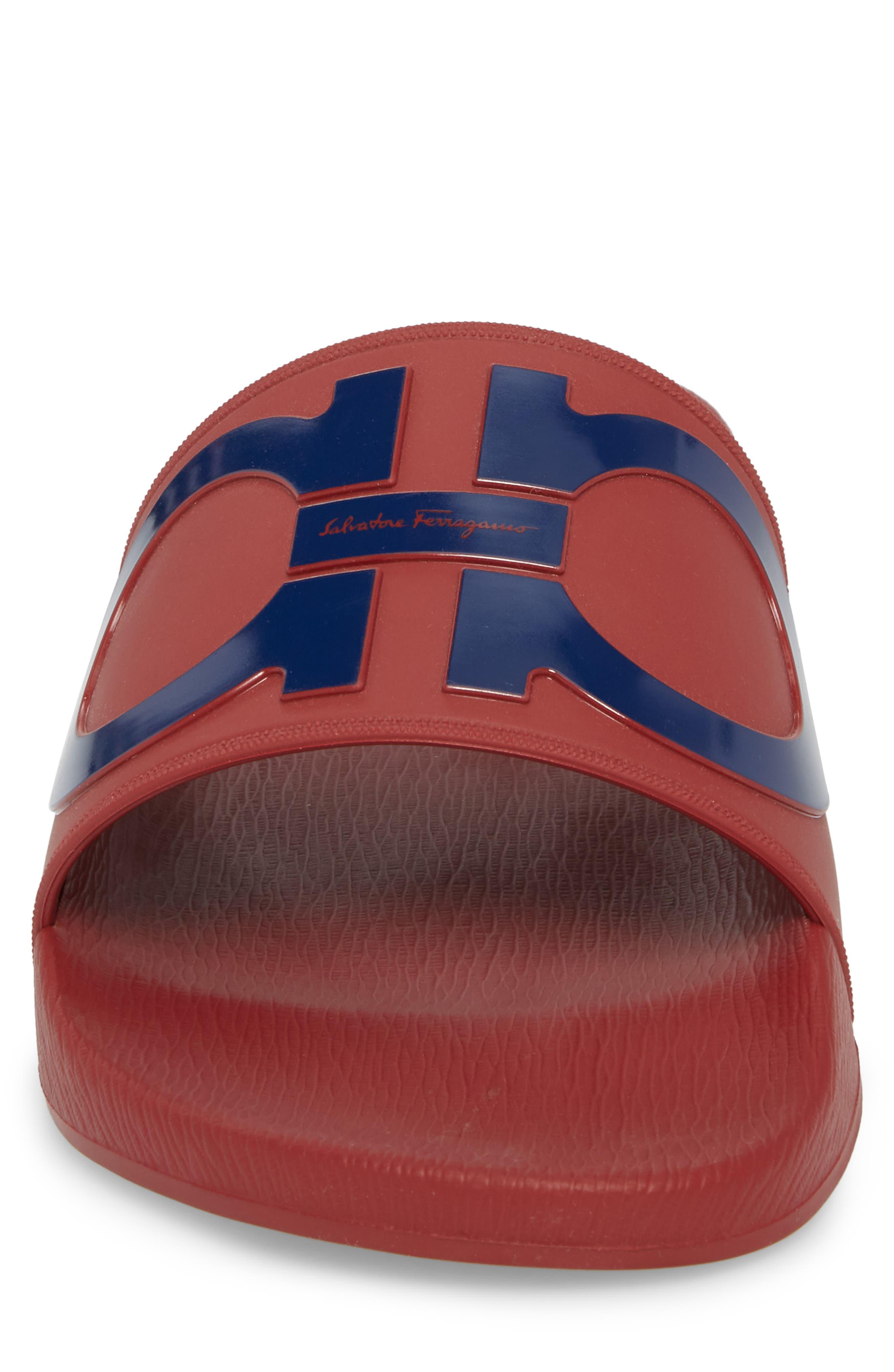Groove Slide Sandal,                             Alternate thumbnail 4, color,                             Rouge