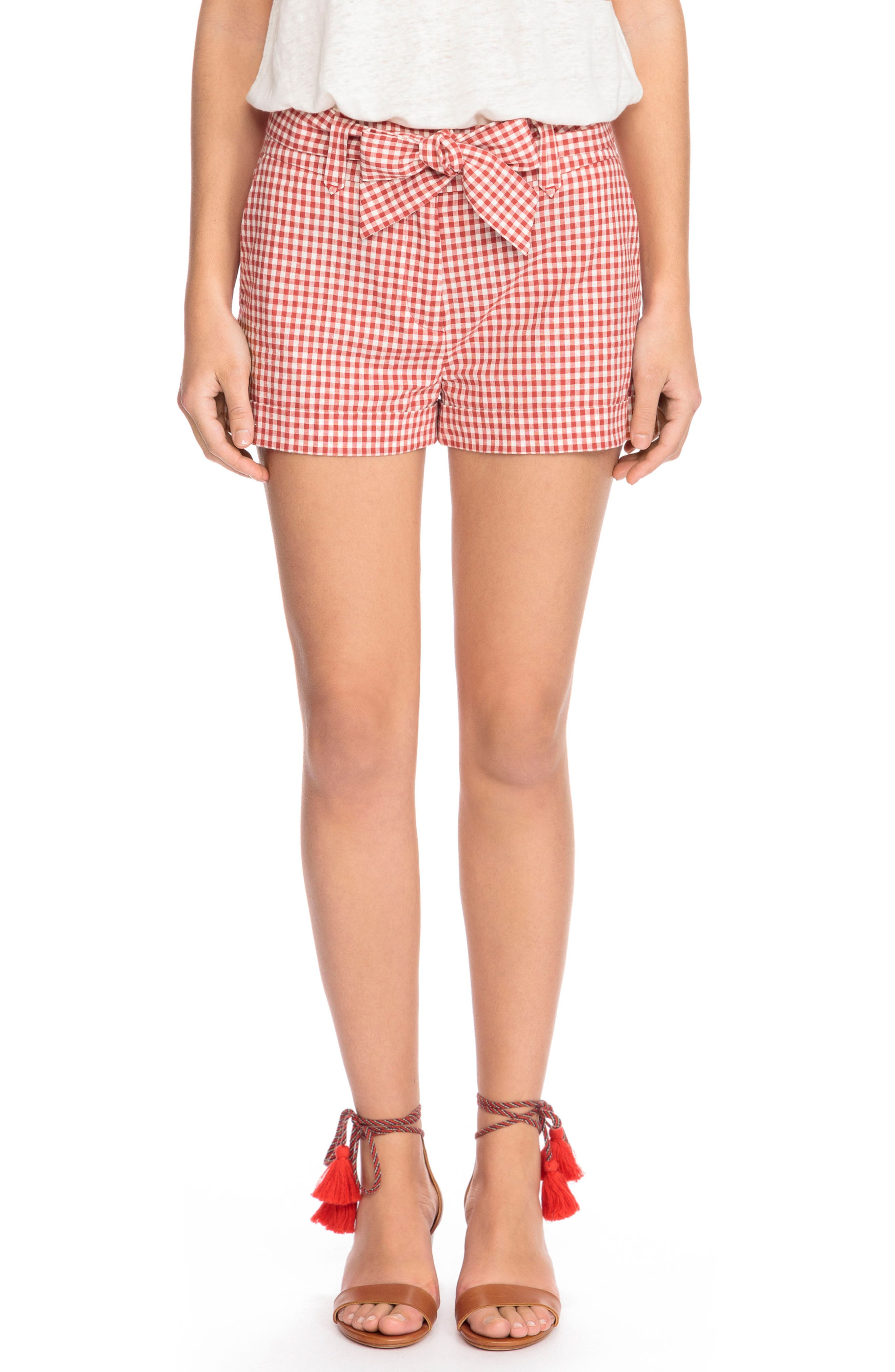 Giovanni Gingham Shorts,                         Main,                         color, Red Vichy