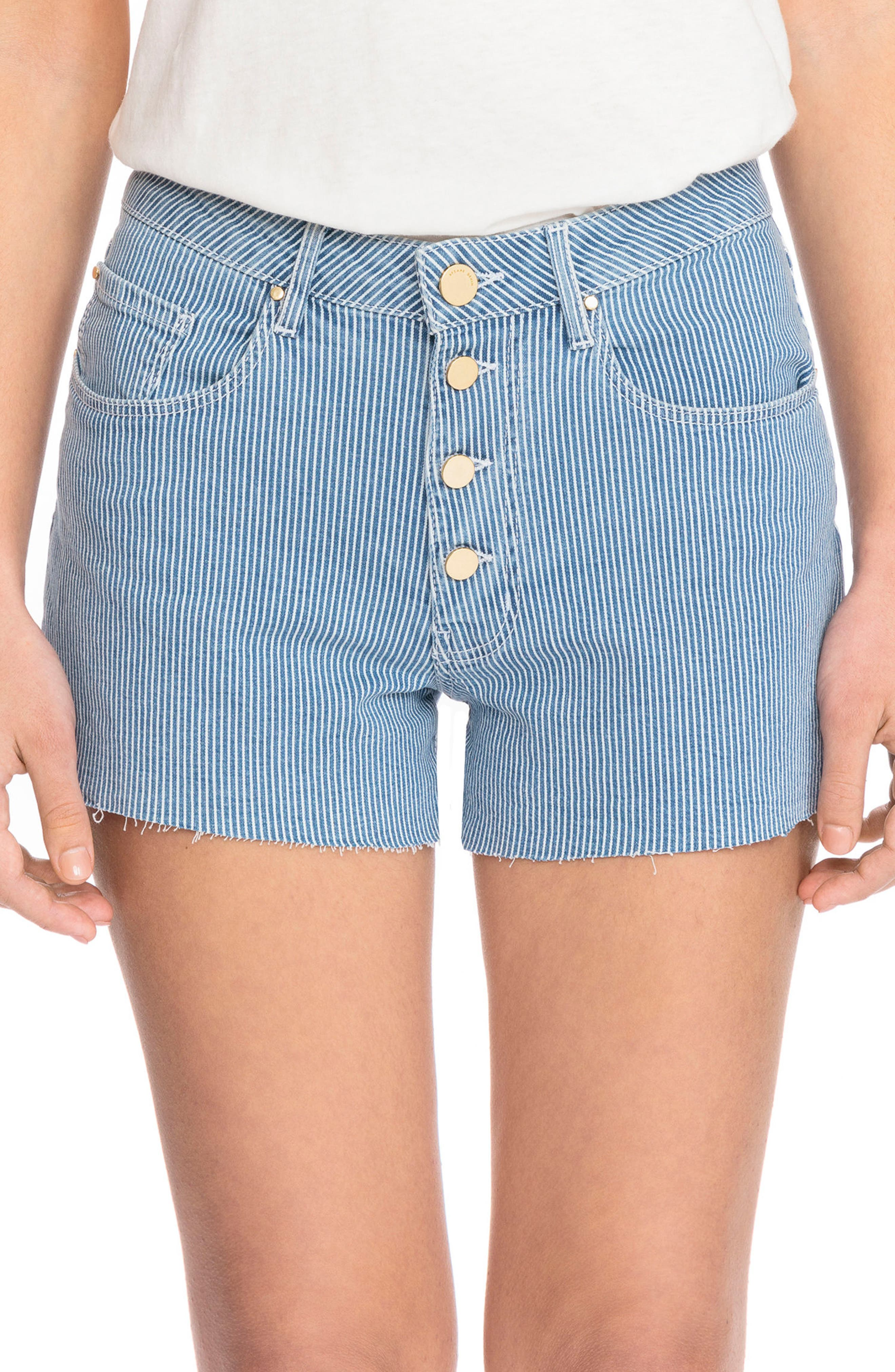 1968 Stripe Cutoff Denim Shorts,                             Main thumbnail 1, color,                             Off White And Blue Stripes