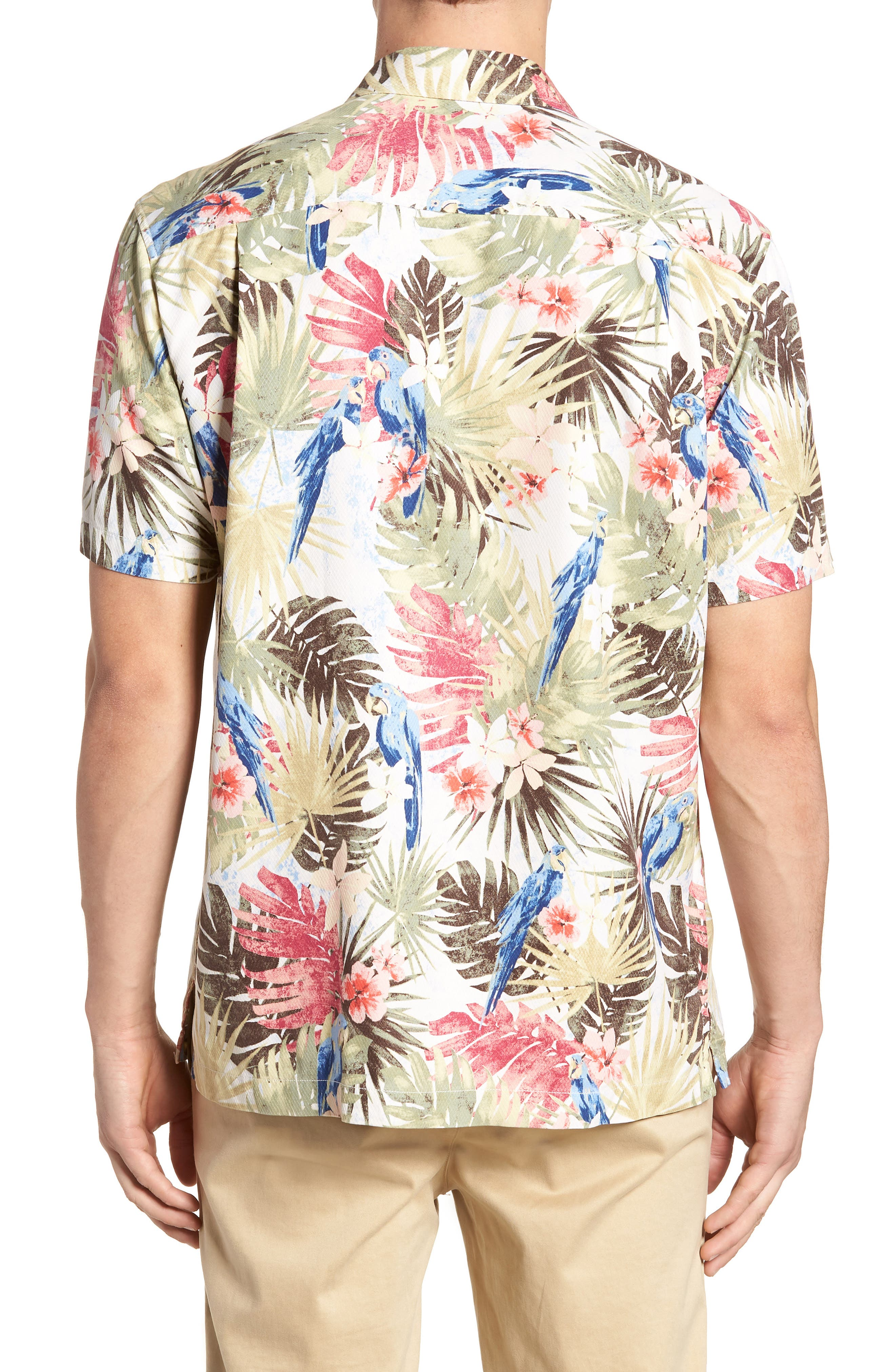 Marino Paradise Silk Camp Shirt,                             Alternate thumbnail 3, color,                             Coconut Cream