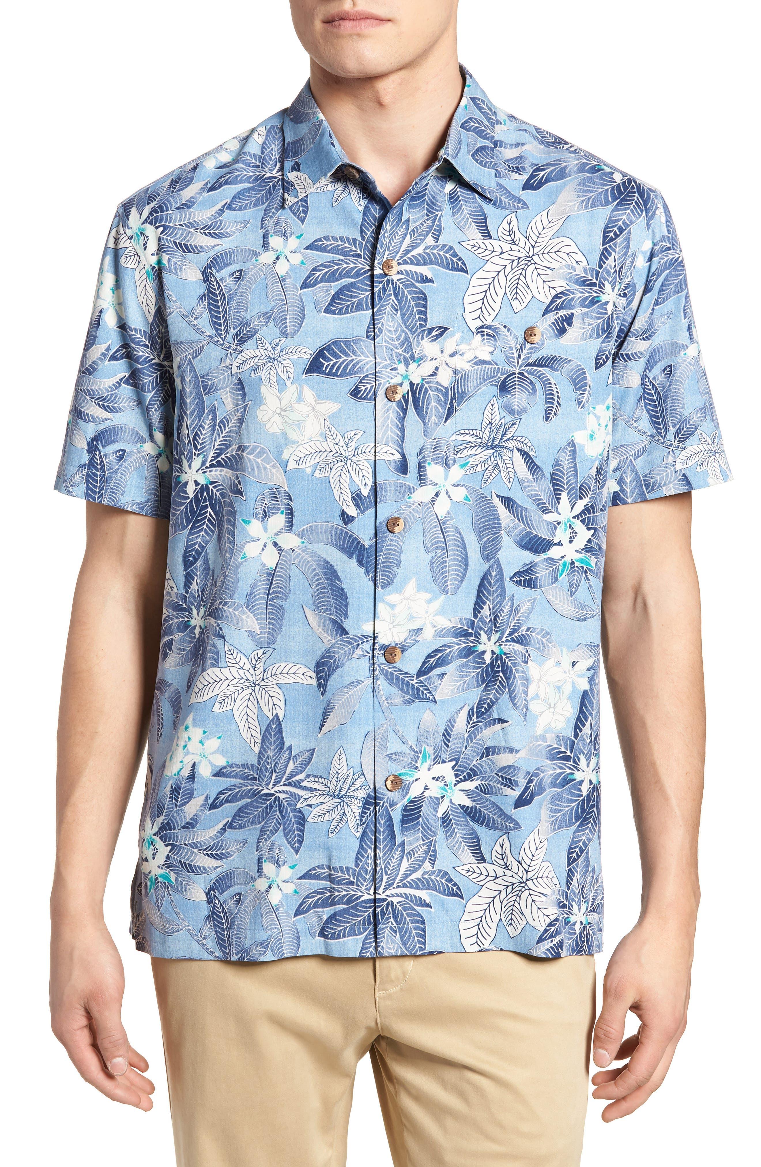 El Medano Jungle Silk Camp Shirt,                             Main thumbnail 1, color,                             Blue Aster