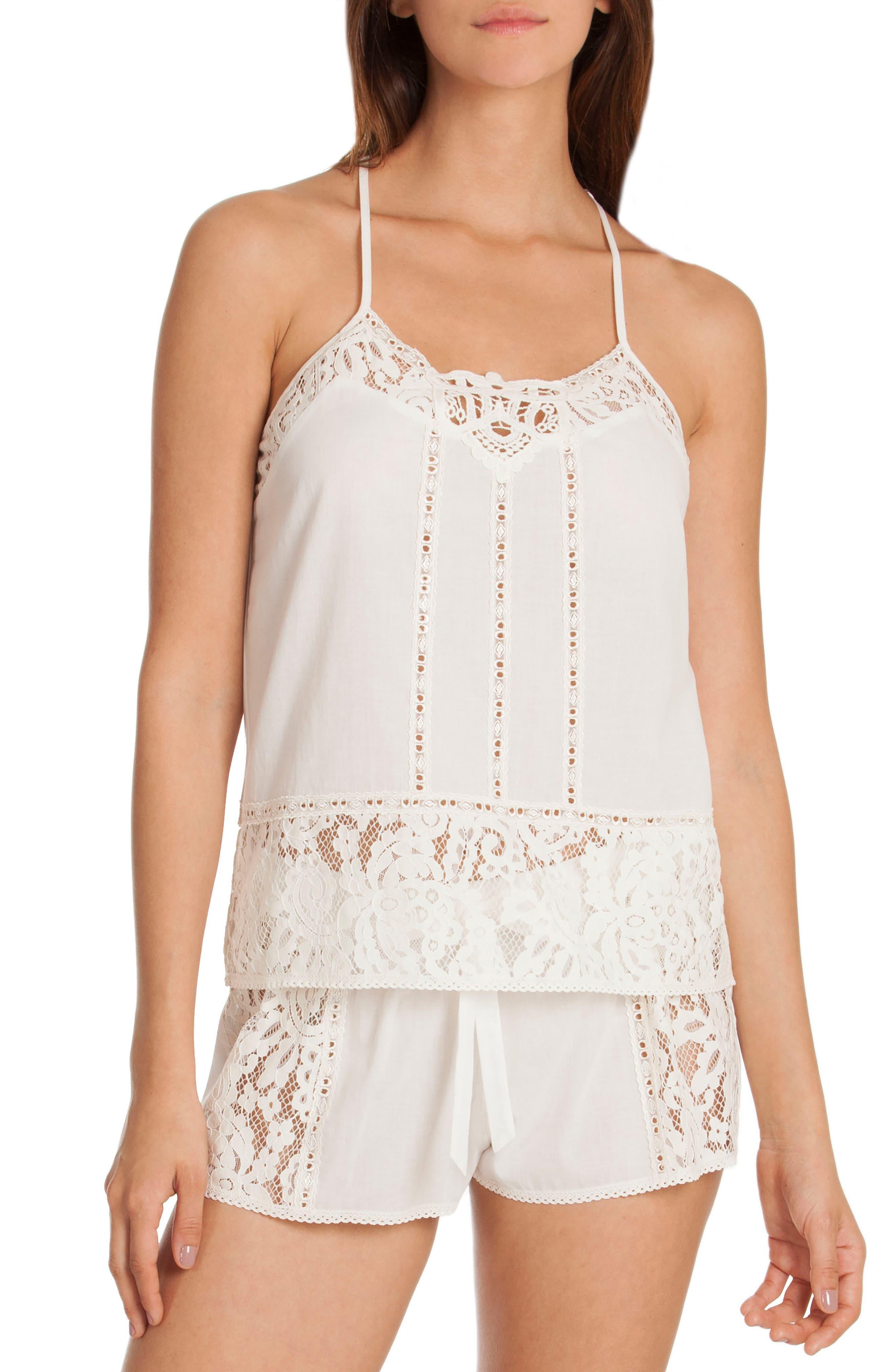 Eyelet Cotton Short Pajamas,                             Main thumbnail 1, color,                             Ivory/ Beige