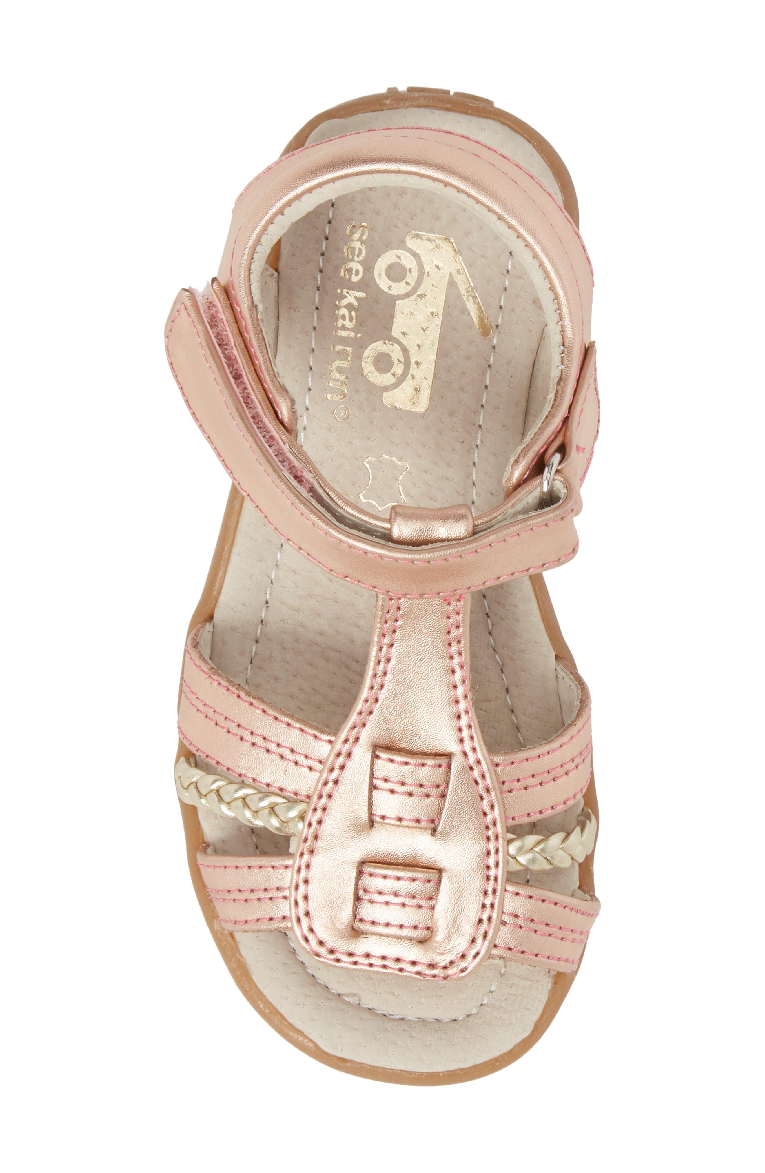 Hadley Metallic Sandal,                             Alternate thumbnail 5, color,                             Rose Gold