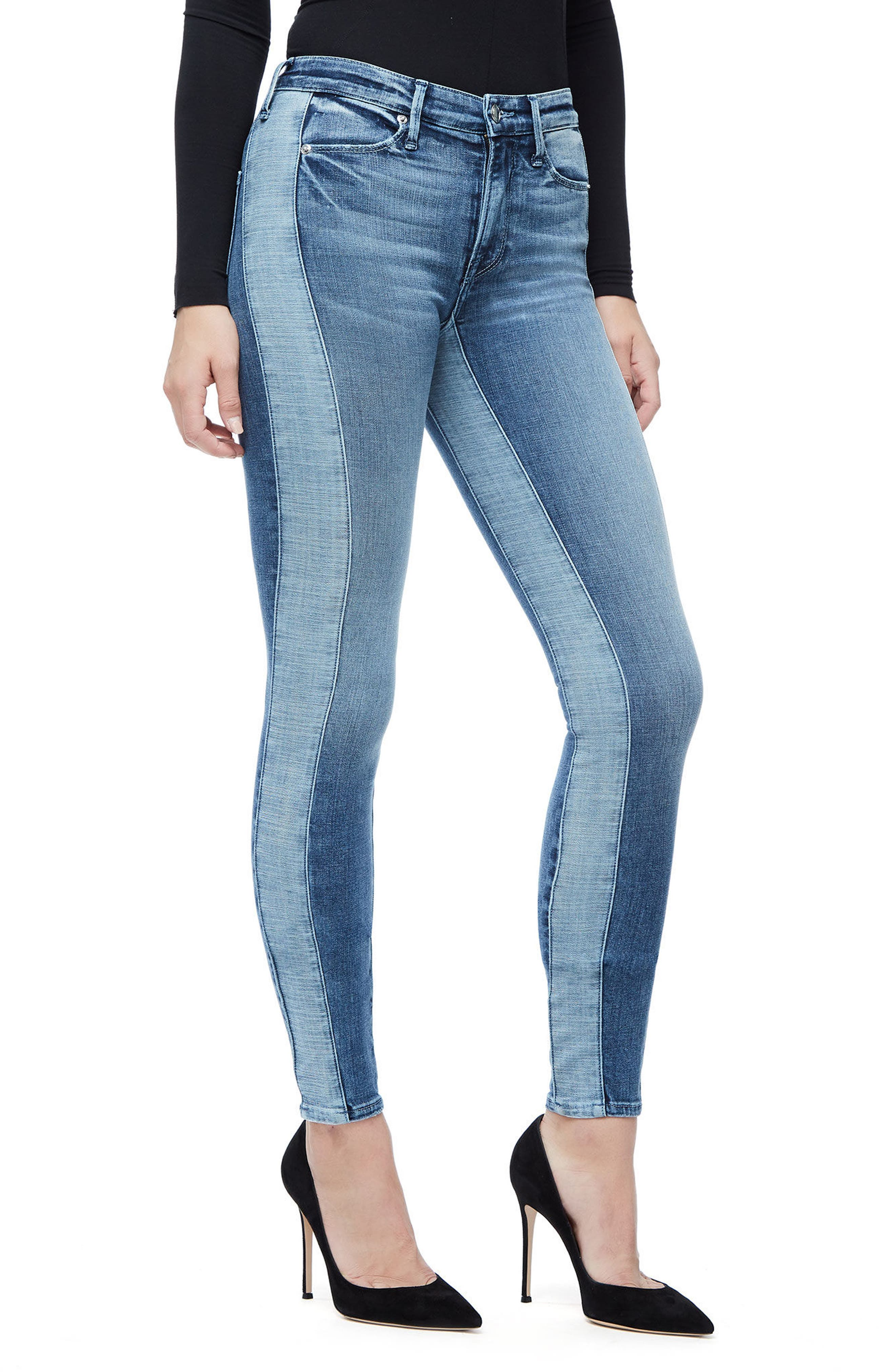 Good Waist Piecing High Waist Skinny Jeans,                             Alternate thumbnail 4, color,                             Blue128