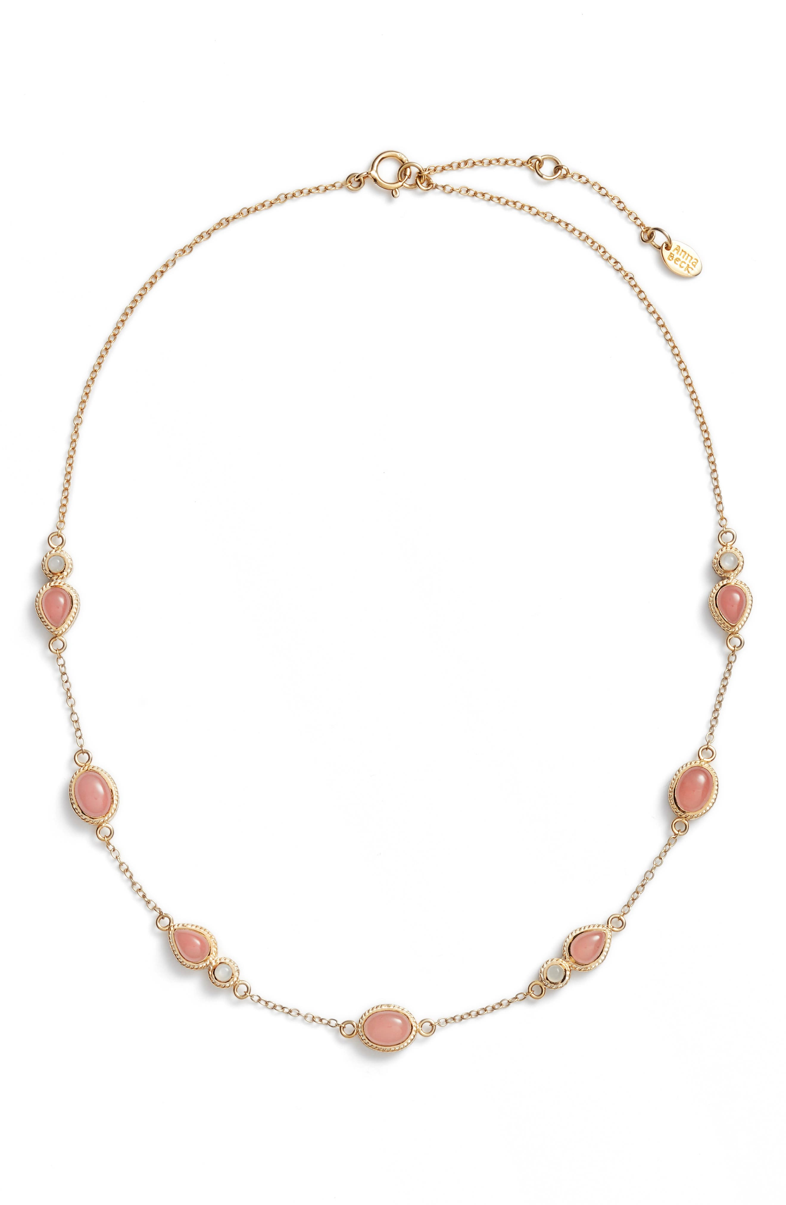 Anna Beck Guava Quartz & Moonstone Station Necklace