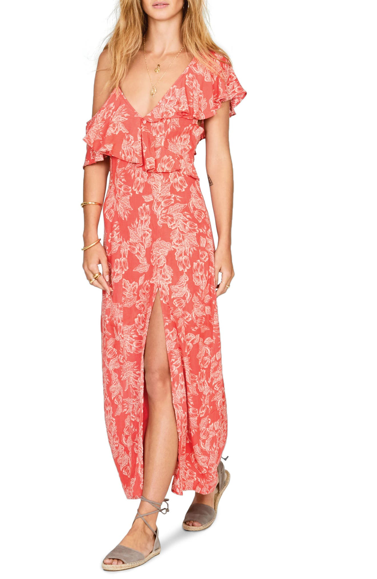 Midnight Flower Asymmetrical Maxi Dress,                         Main,                         color, Rebel Red
