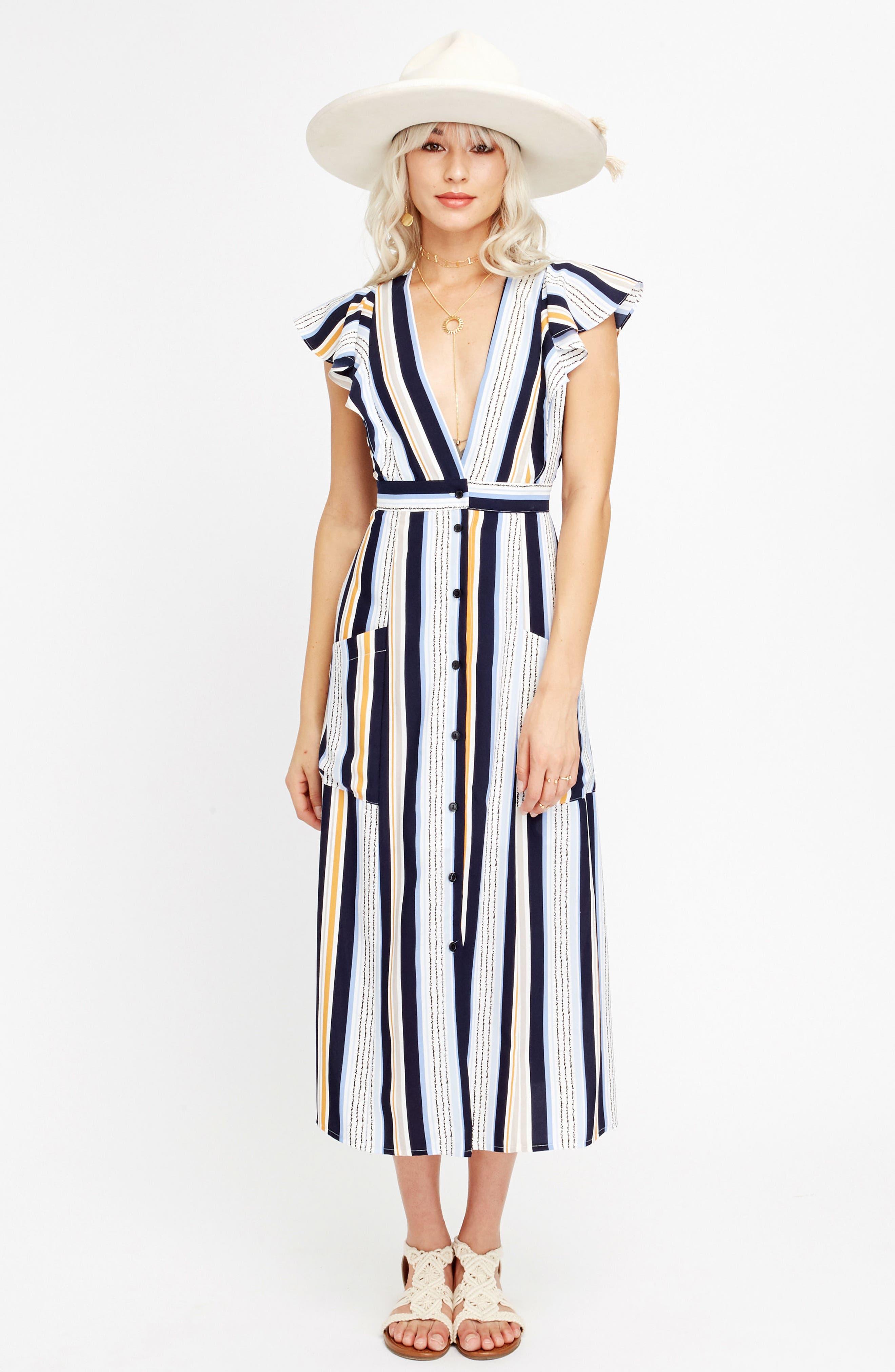 Claudia Stripe Midi Dress,                             Alternate thumbnail 2, color,                             Blue/ Orange Stripe