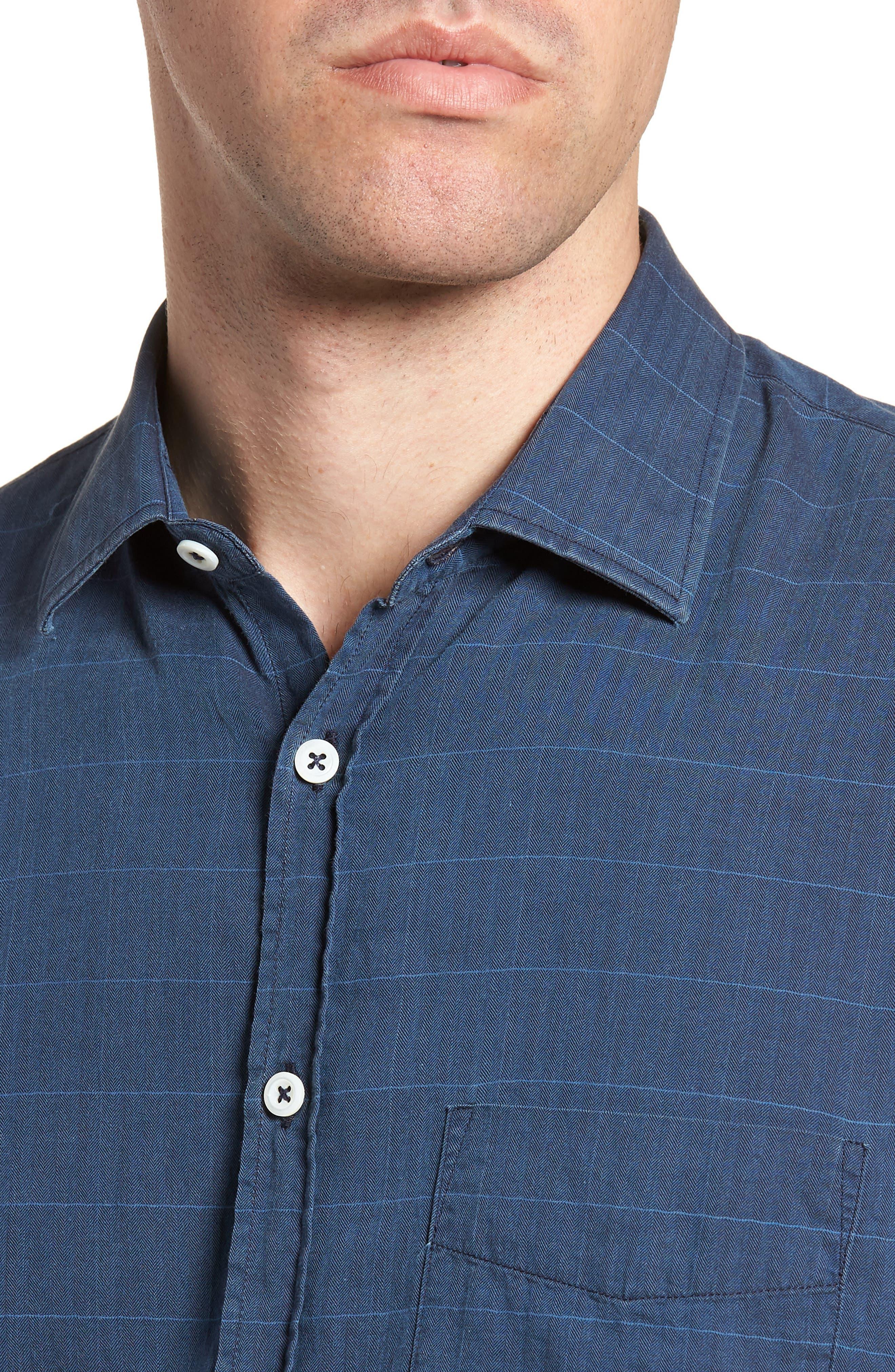 John Standard Fit Windowpane Sport Shirt,                             Alternate thumbnail 2, color,                             Indigo