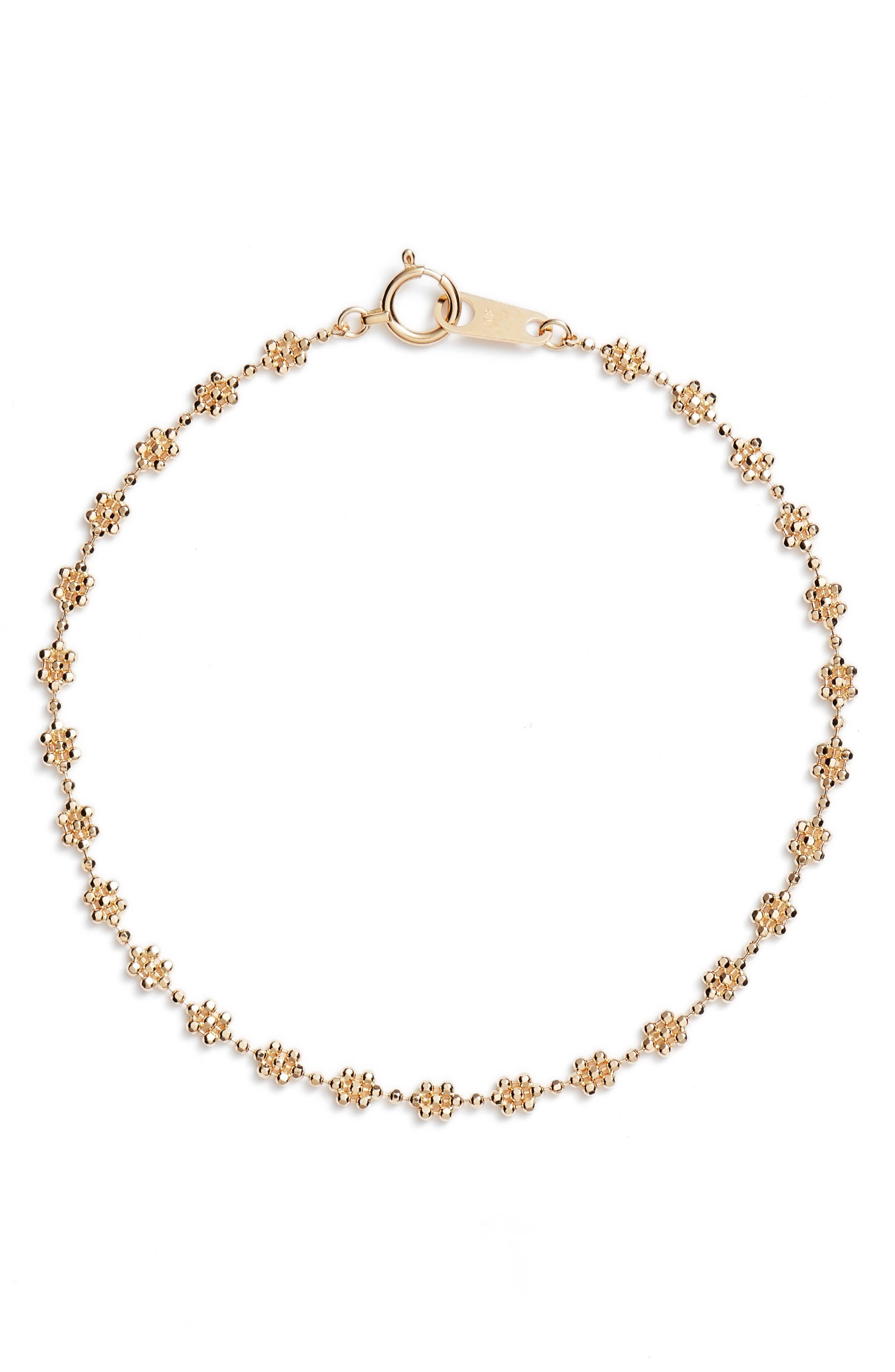 Poppy Finch Shimmer Bead Flower Bracelet
