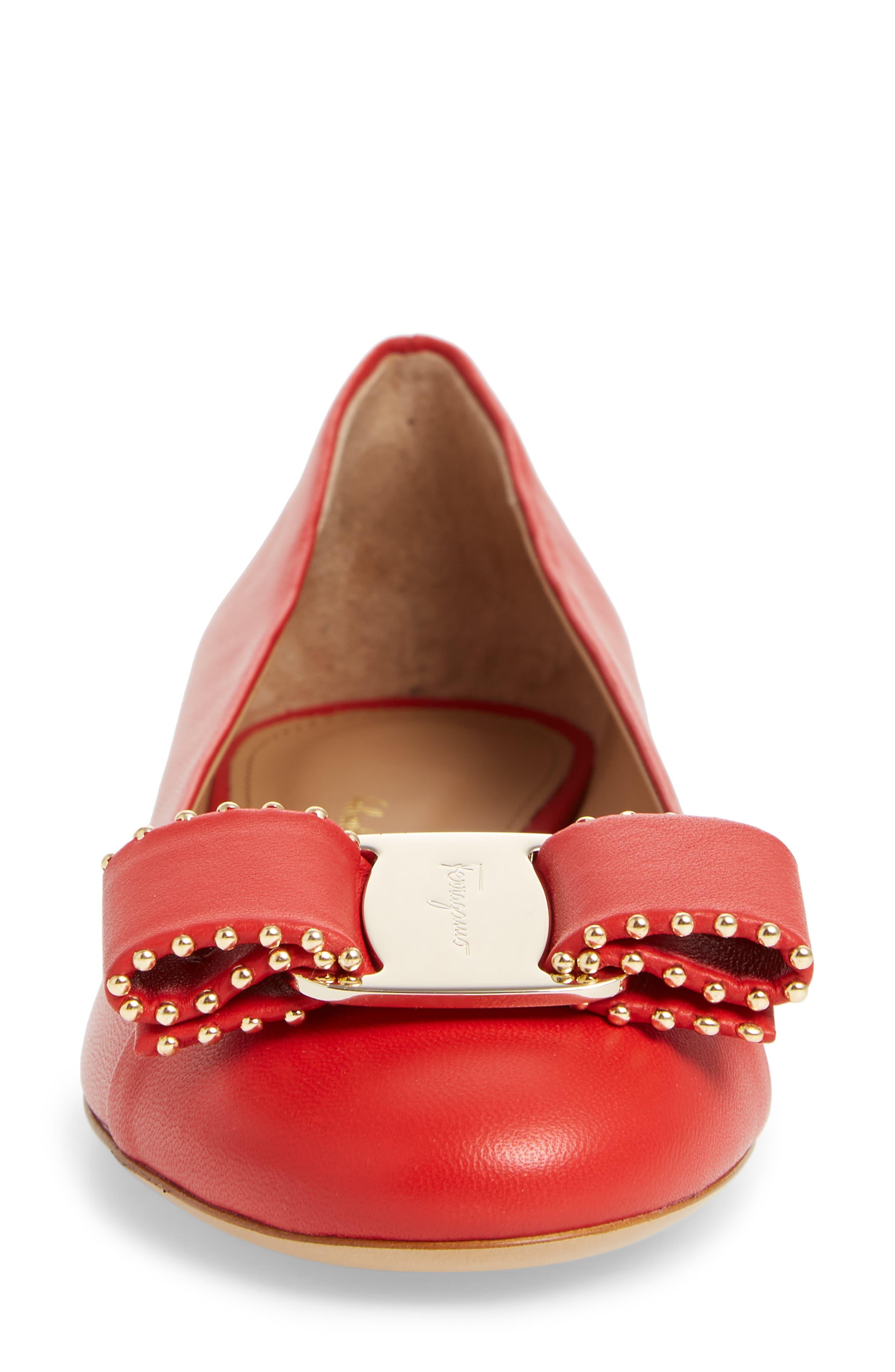 Varina Leather Flat,                             Alternate thumbnail 4, color,                             Lipstick Pink