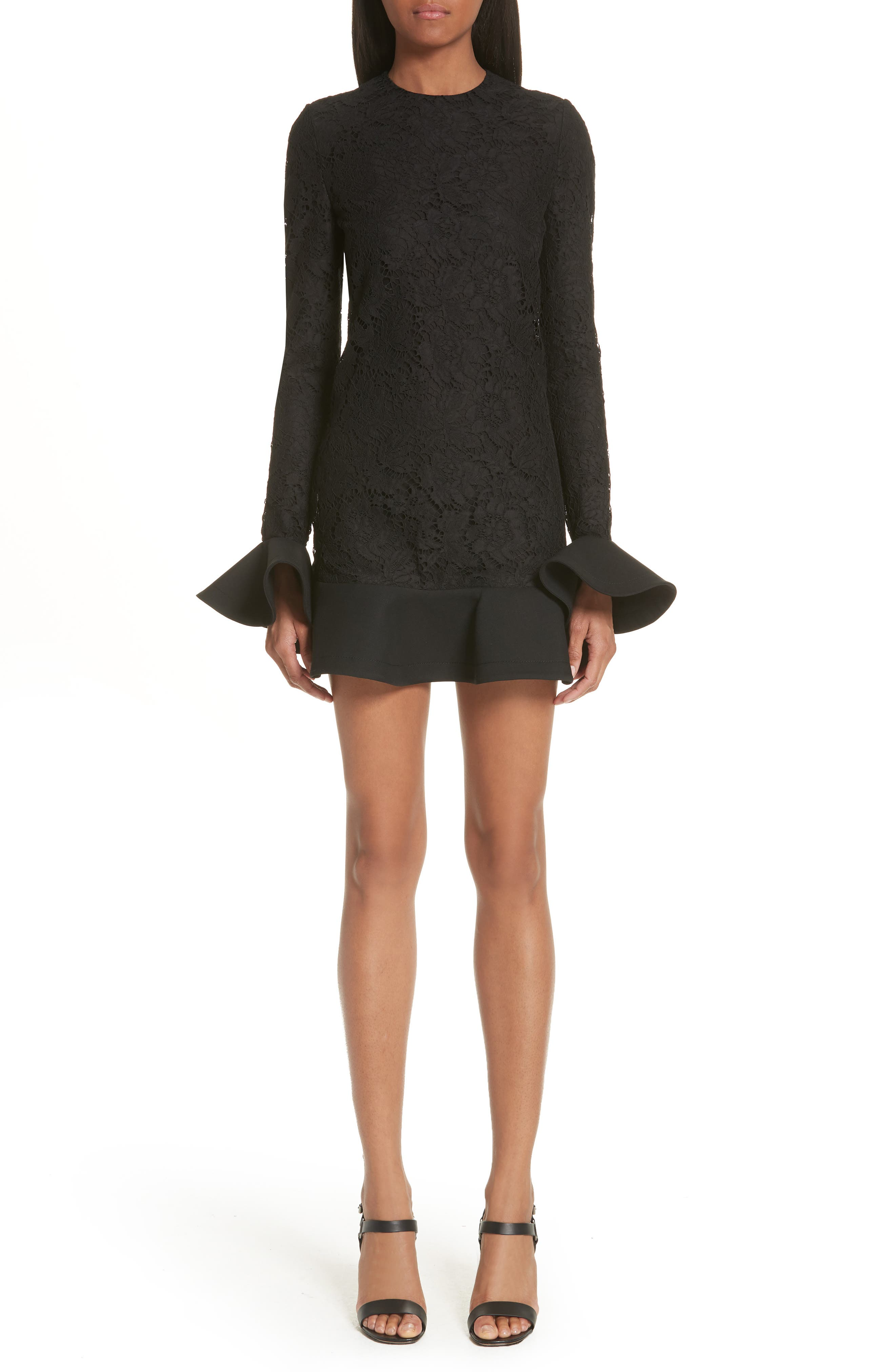 Ruffle Hem Lace Dress,                             Main thumbnail 1, color,                             Black