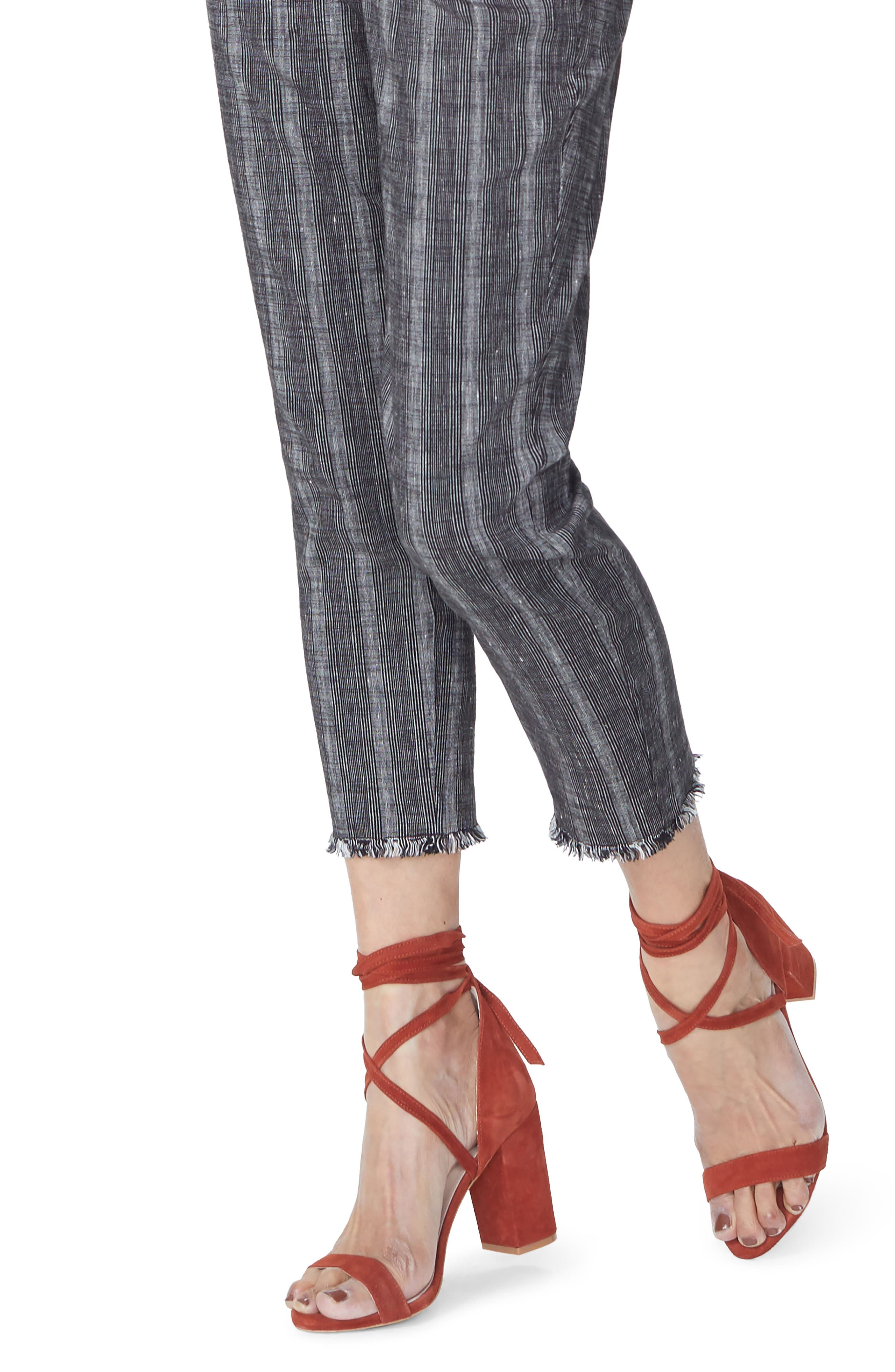 Hidden Drawstring Stripe Crop Pants,                             Alternate thumbnail 4, color,                             Black/ Natural