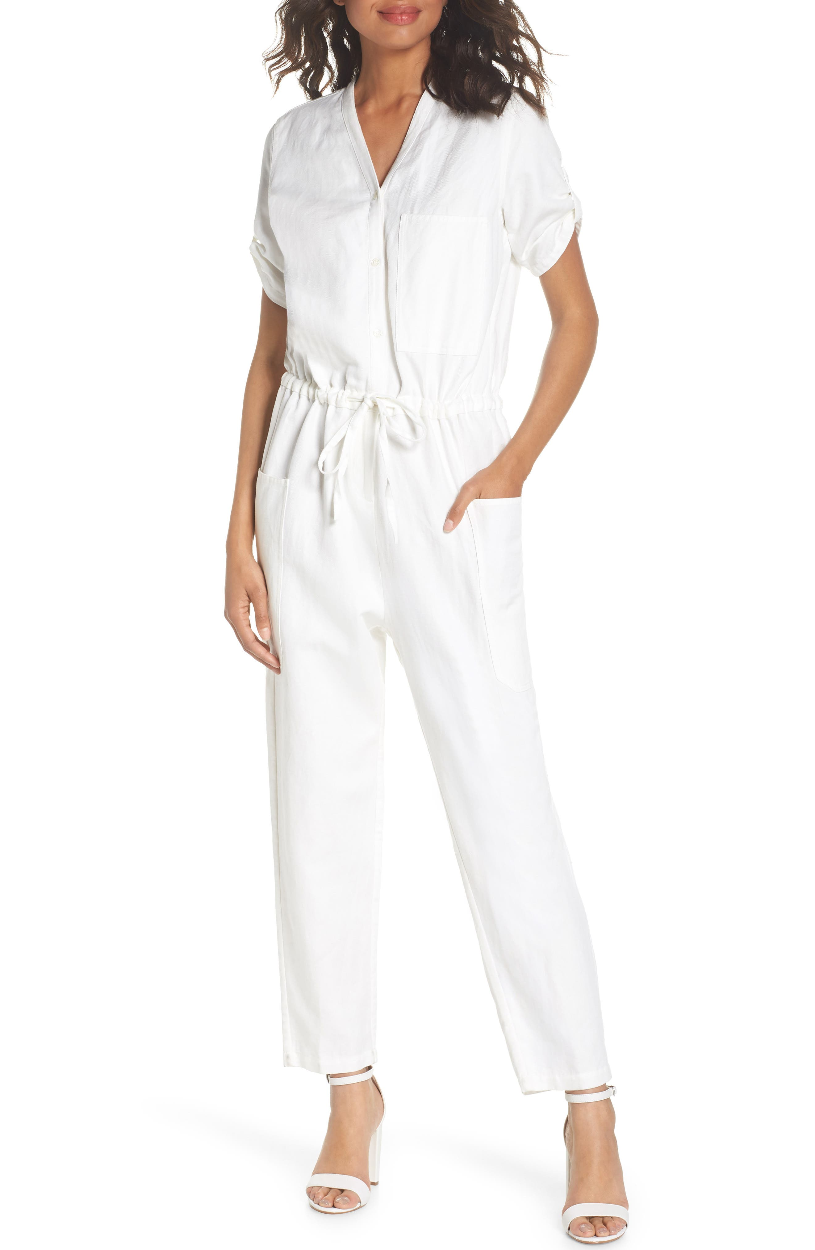 Keep It Cool Jumpsuit,                             Main thumbnail 1, color,                             White