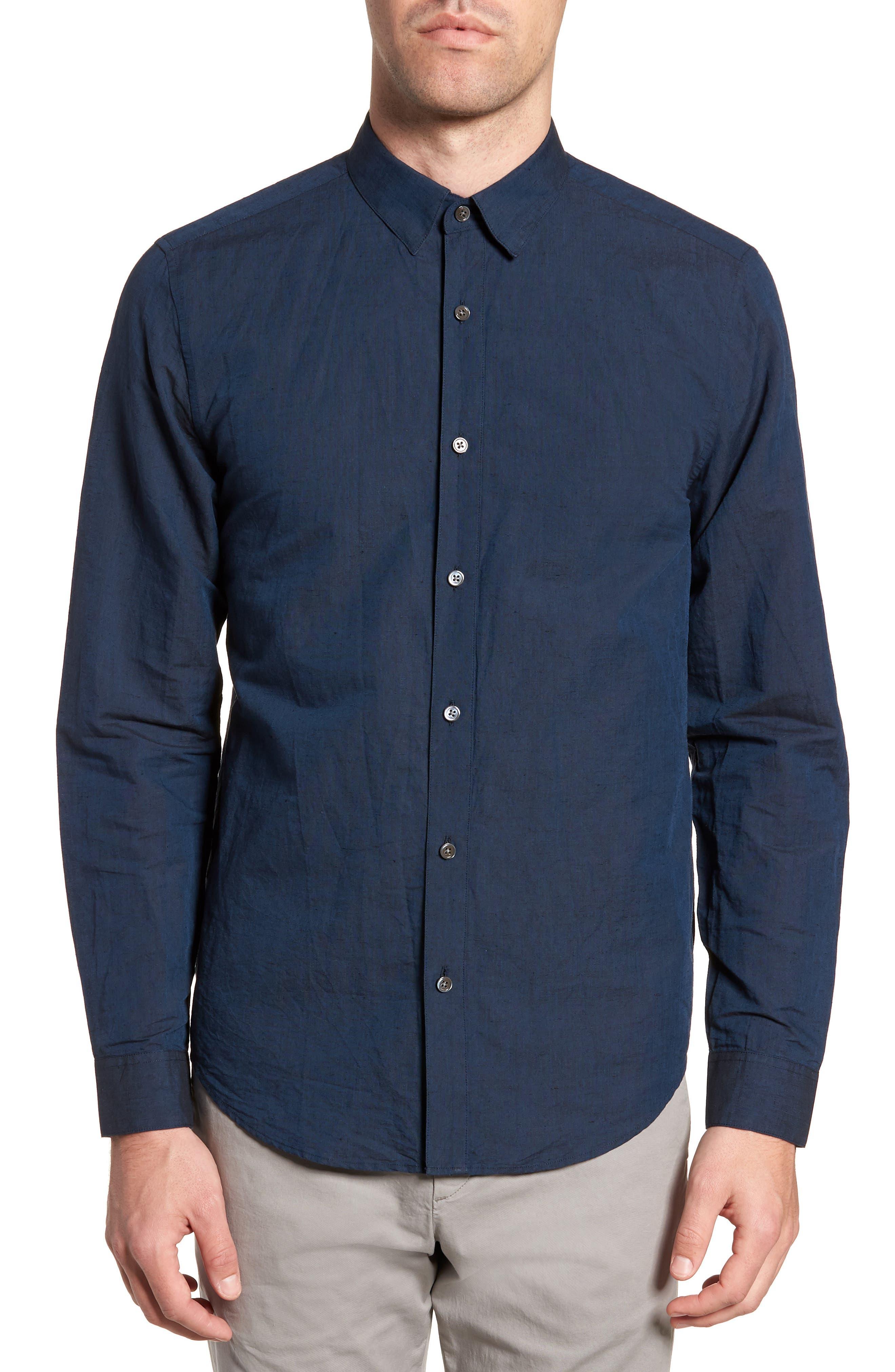 Edward Regular Fit Linen & Cotton Sport Shirt,                             Main thumbnail 1, color,                             Finch