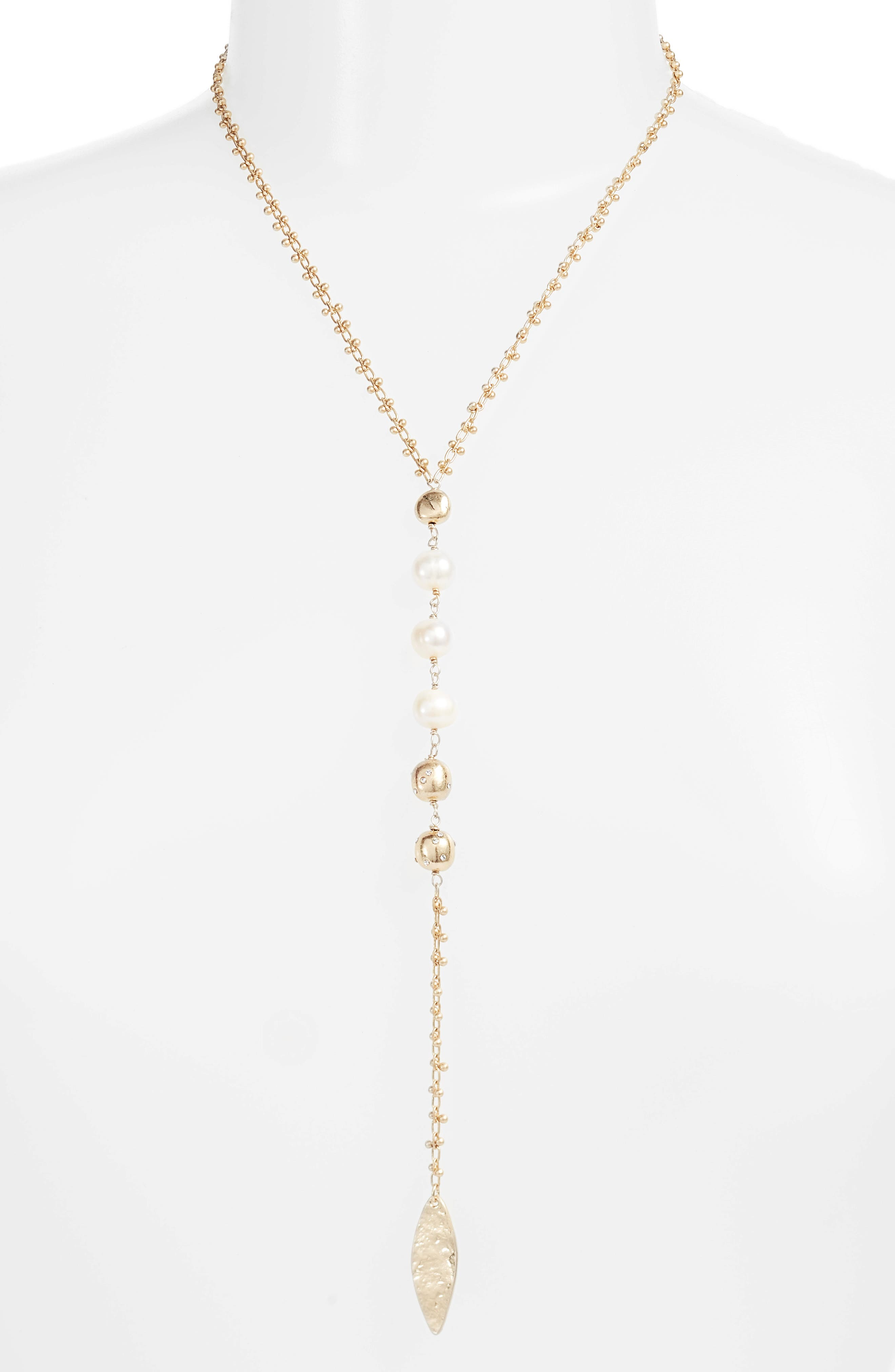 Freshwater Pearl Y-Shape Necklace,                             Main thumbnail 1, color,                             White- Gold