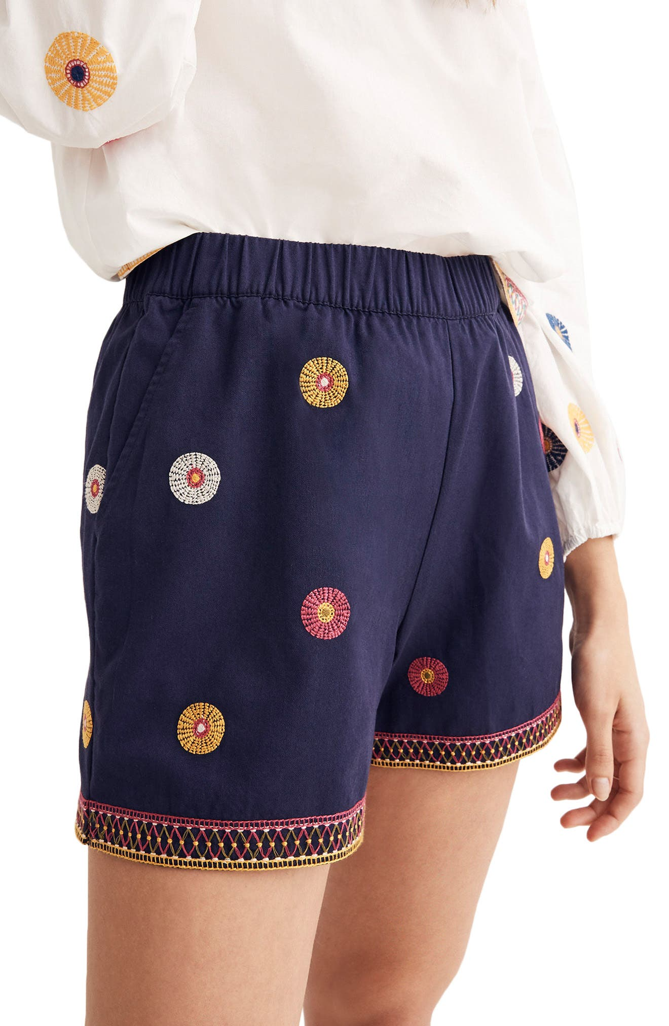 Embroidered Pull-On Shorts,                             Alternate thumbnail 3, color,                             Midnight