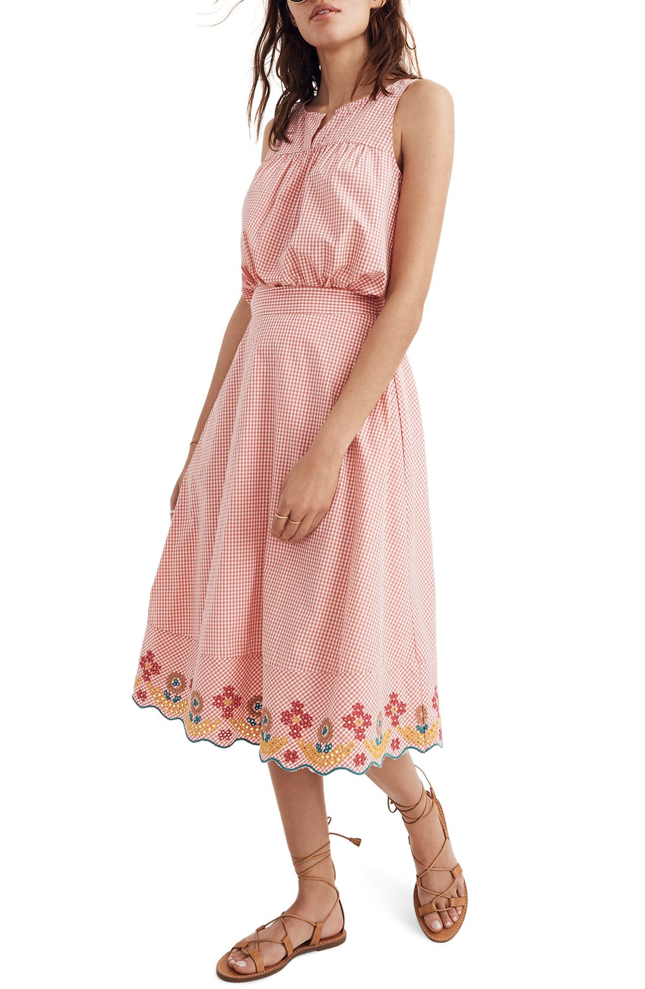 Embroidered Gingham Circle Skirt,                             Main thumbnail 1, color,                             Gingham Sunset