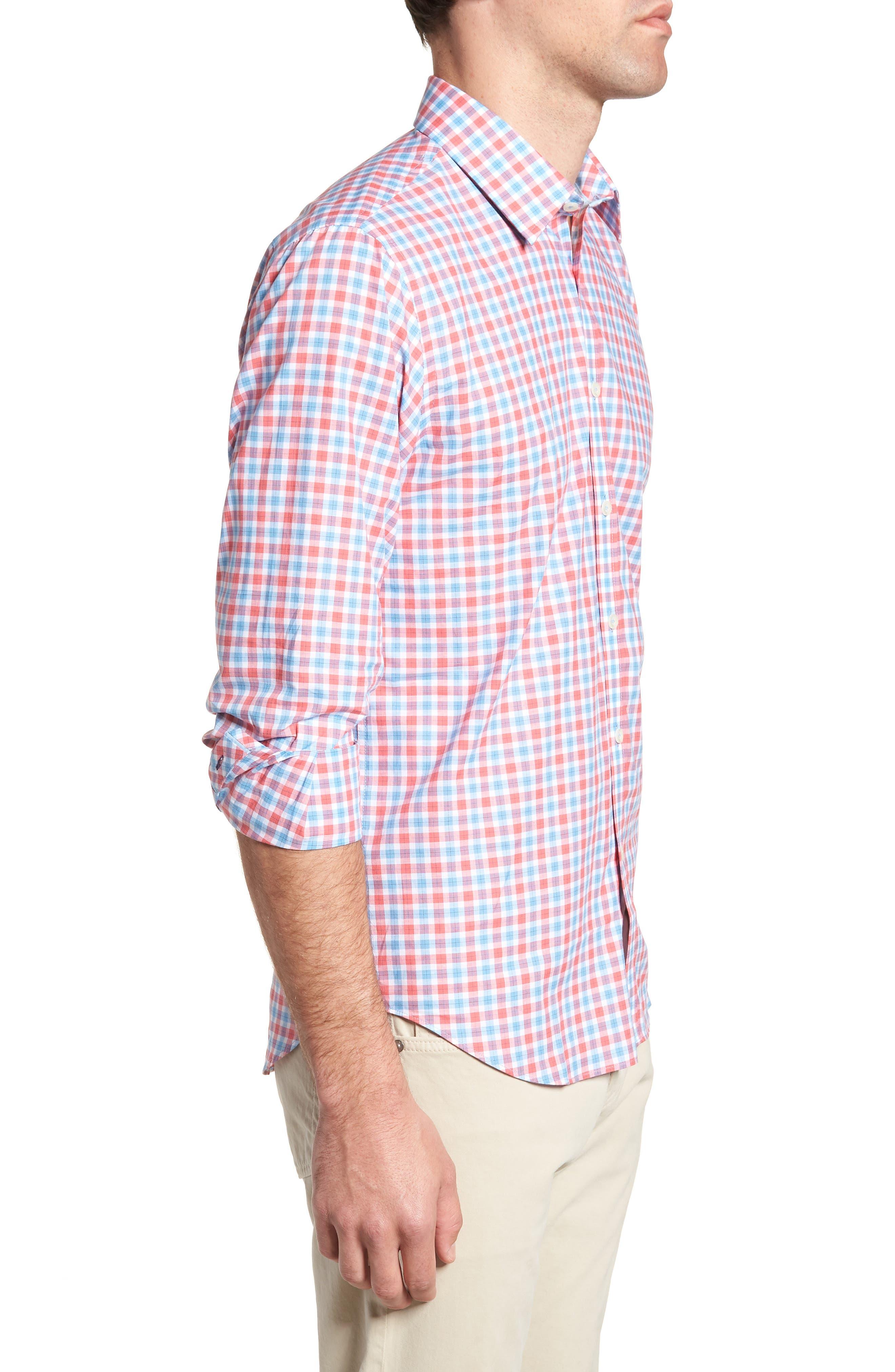 Slim Fit Check Sport Shirt,                             Alternate thumbnail 4, color,                             Medium Orange