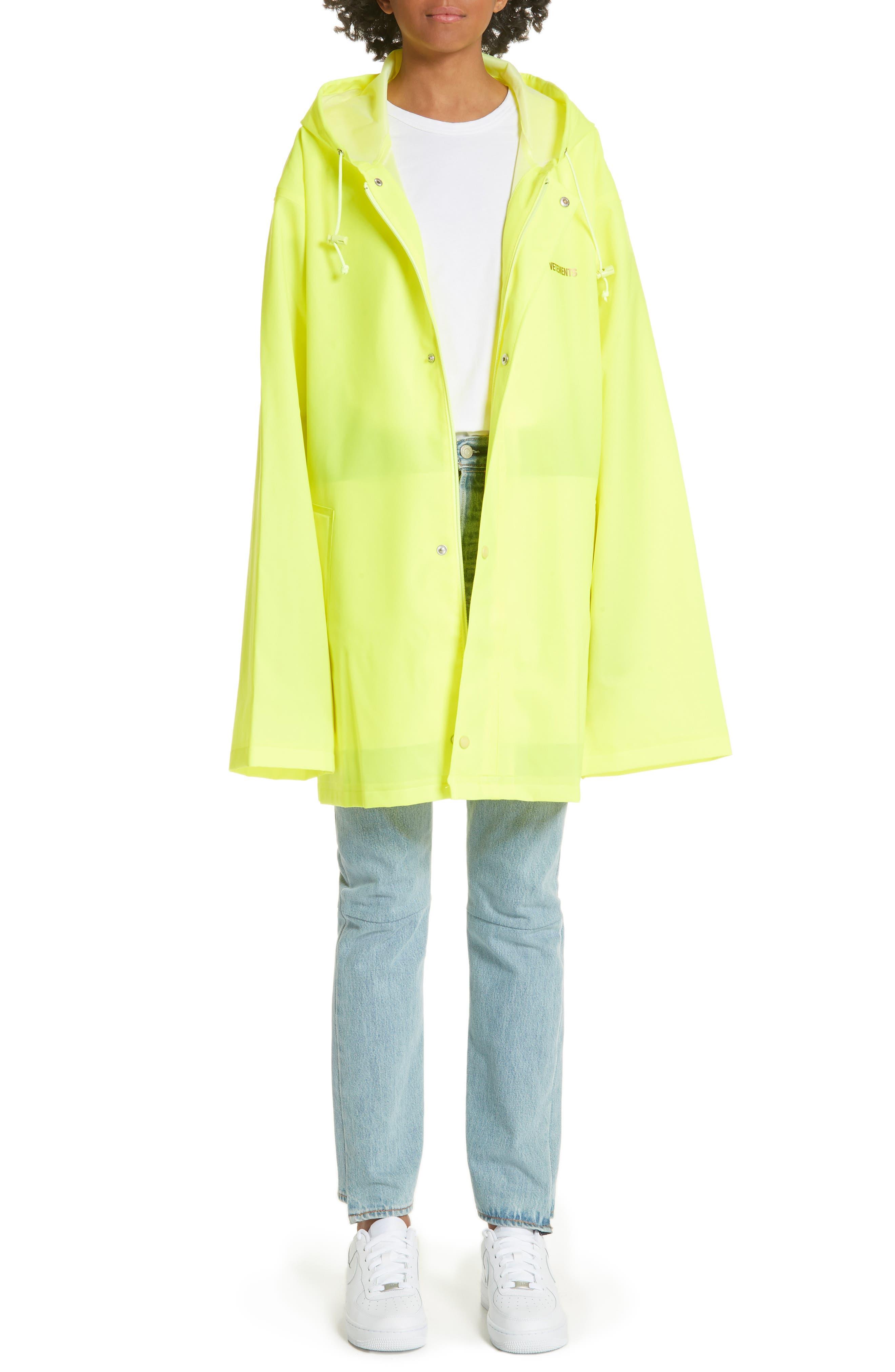 Short Logo Raincoat,                         Main,                         color, Yellow