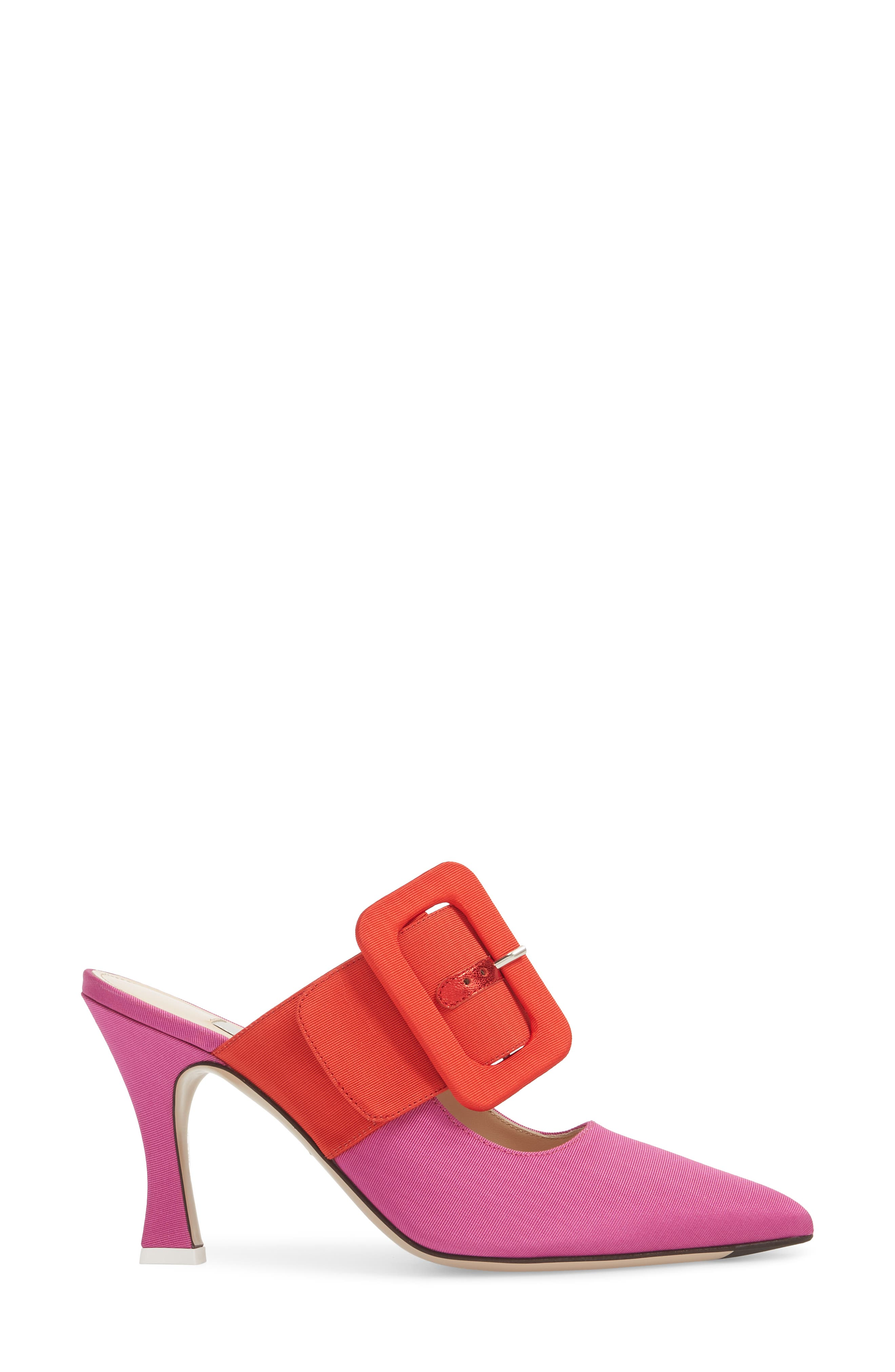 Chloé Buckle Mule,                             Alternate thumbnail 3, color,                             Pink/ Red