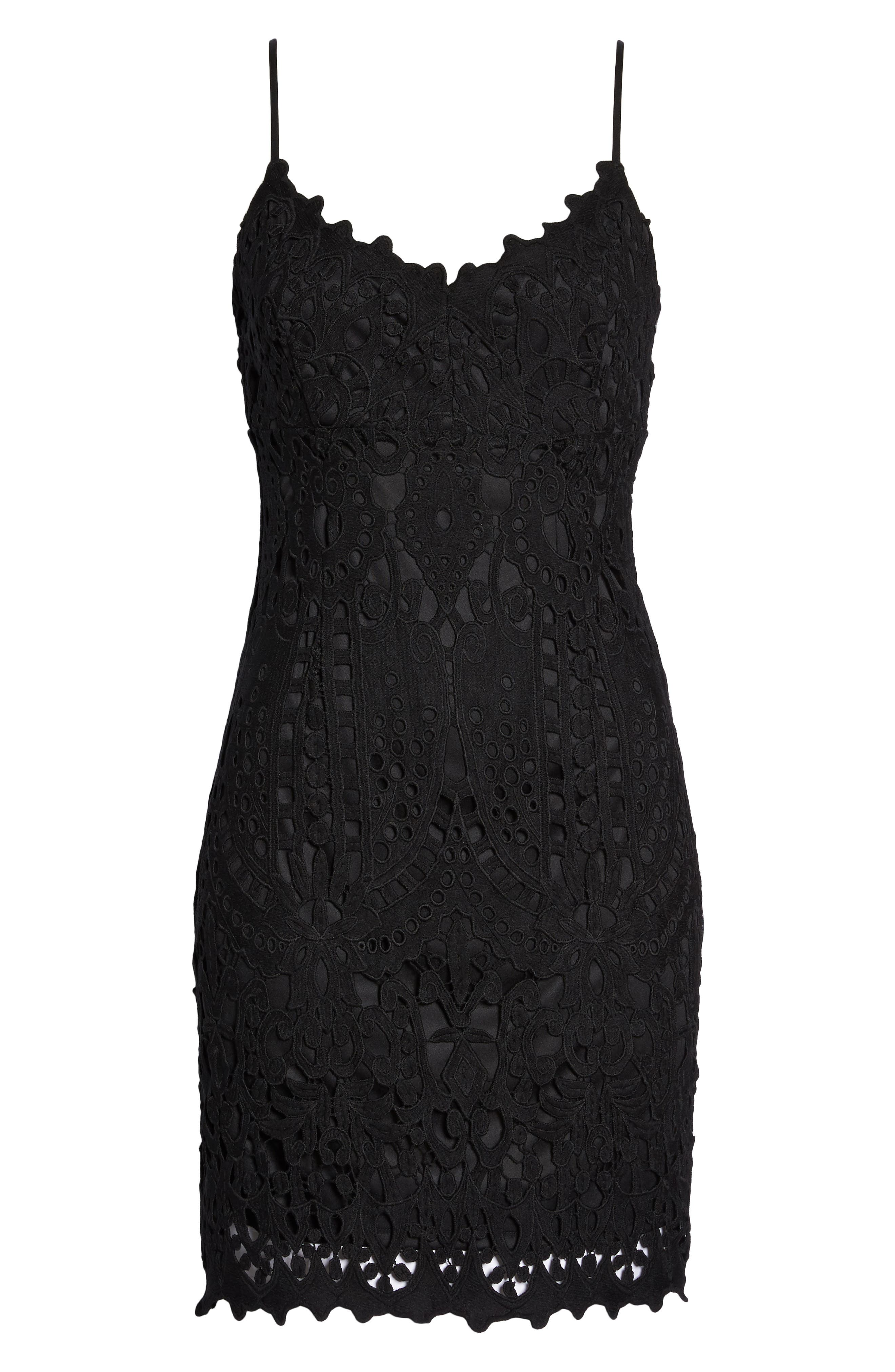 Natalie Crochet Lace Minidress,                             Alternate thumbnail 7, color,                             Black