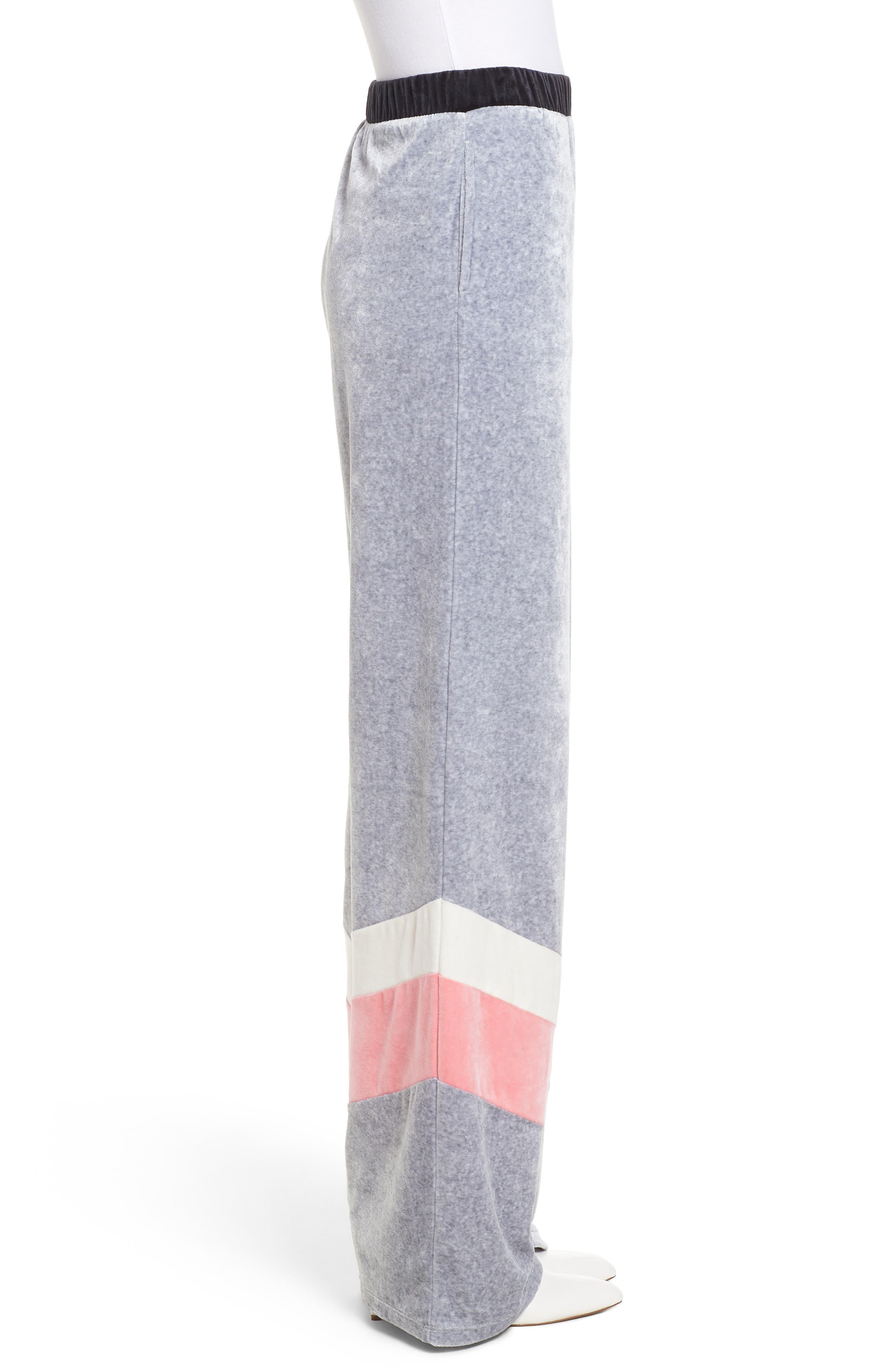 Colorblock Velour Wide Leg Pants,                             Alternate thumbnail 3, color,                             Silver Lining Angel Combo