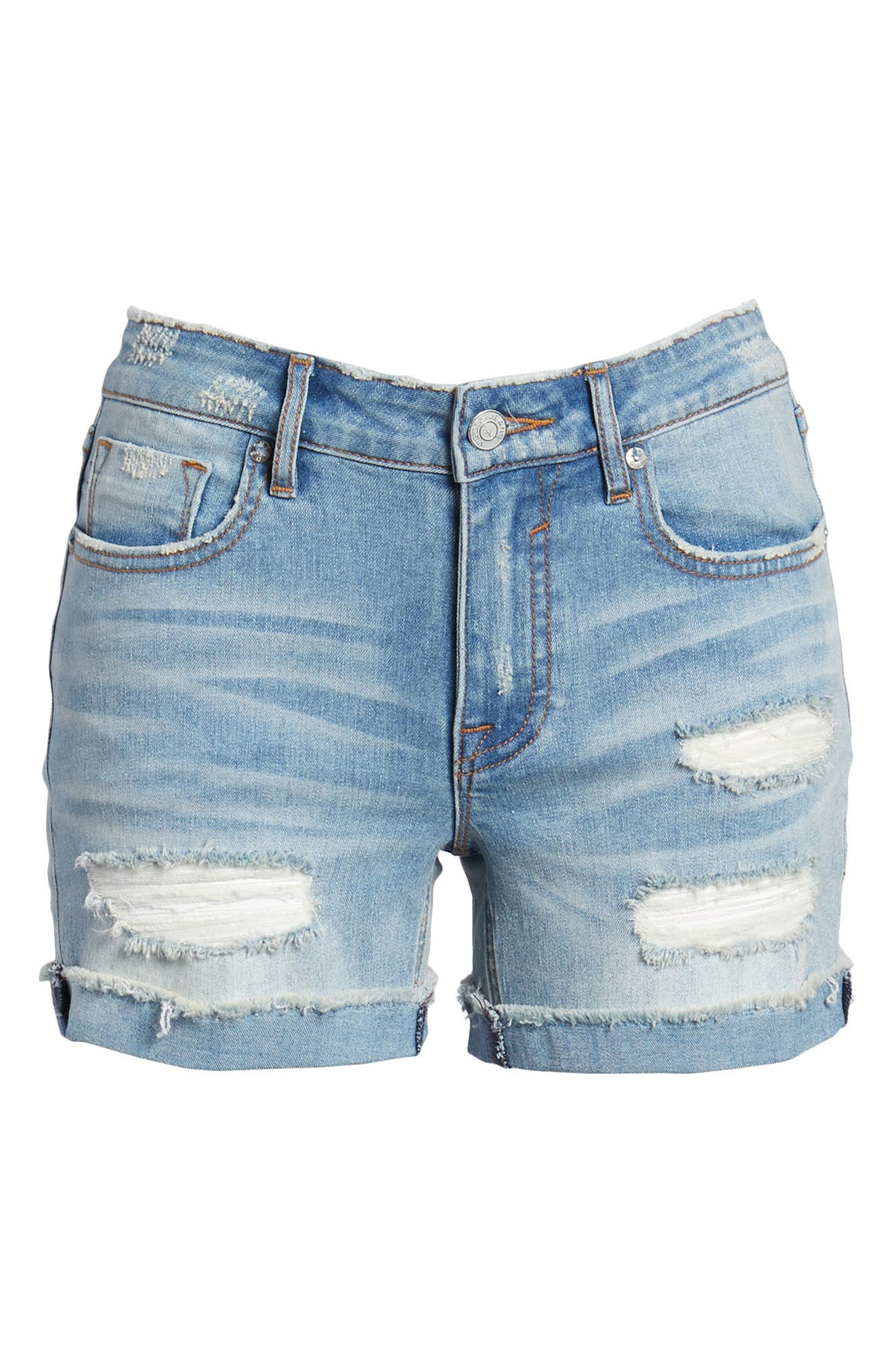 Marley Denim Shorts,                             Alternate thumbnail 7, color,                             Light Wash