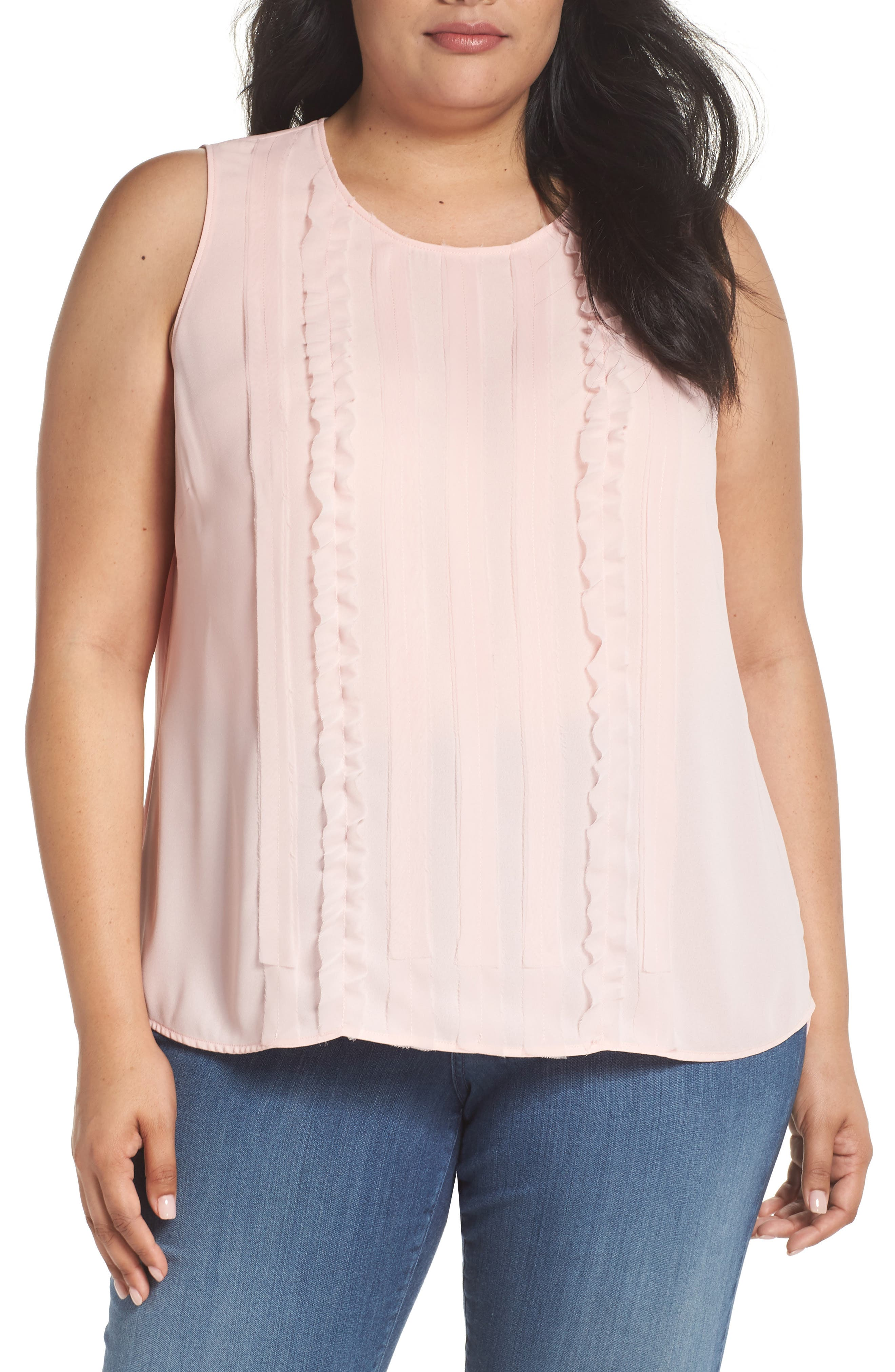 Ruffle Front Tank,                         Main,                         color, Pink Silver