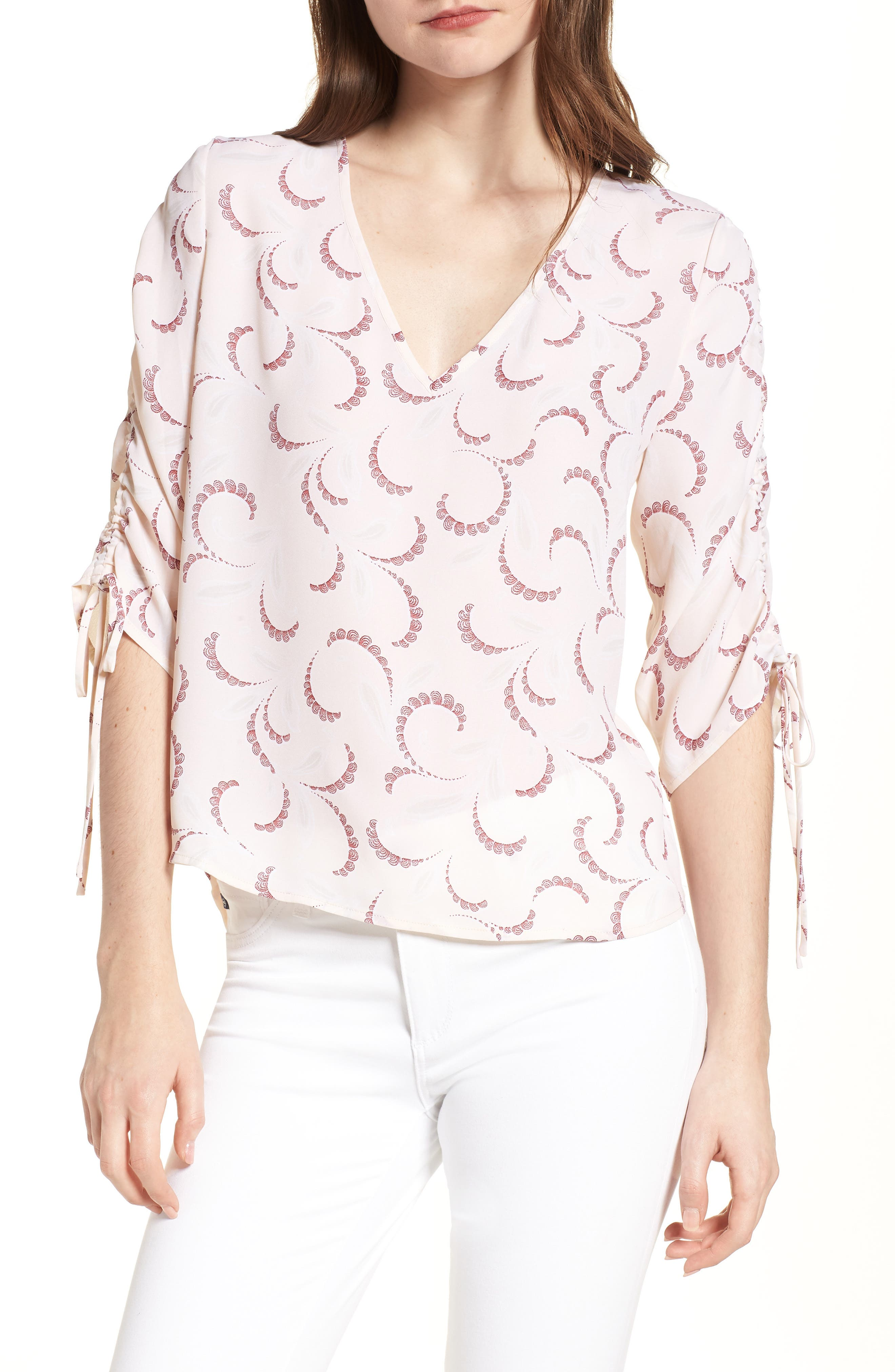 Print Ruched Sleeve Top,                         Main,                         color, Pink Peony Bud Soft Swirls