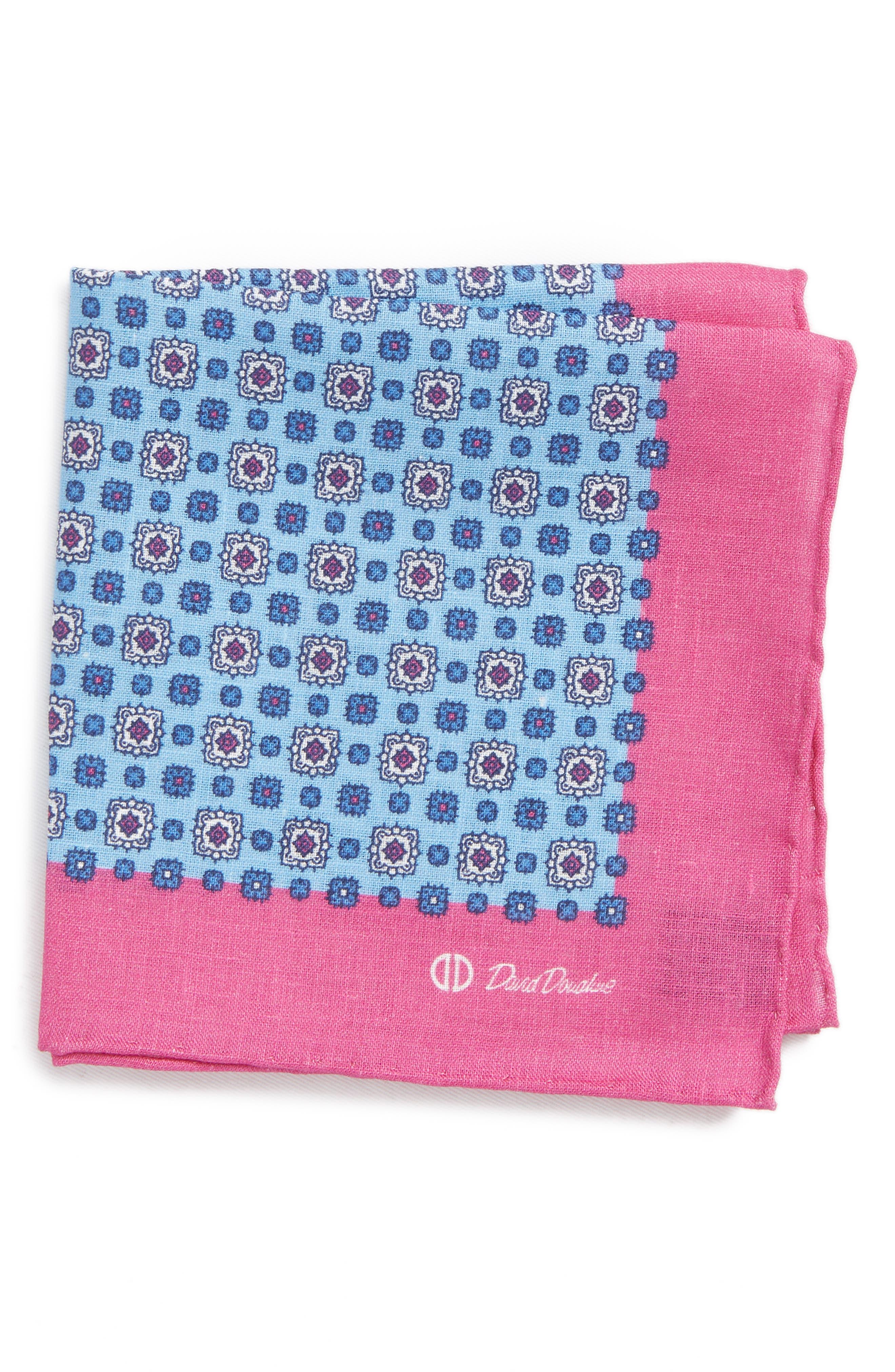 Medallion Linen Pocket Square,                         Main,                         color, Pink