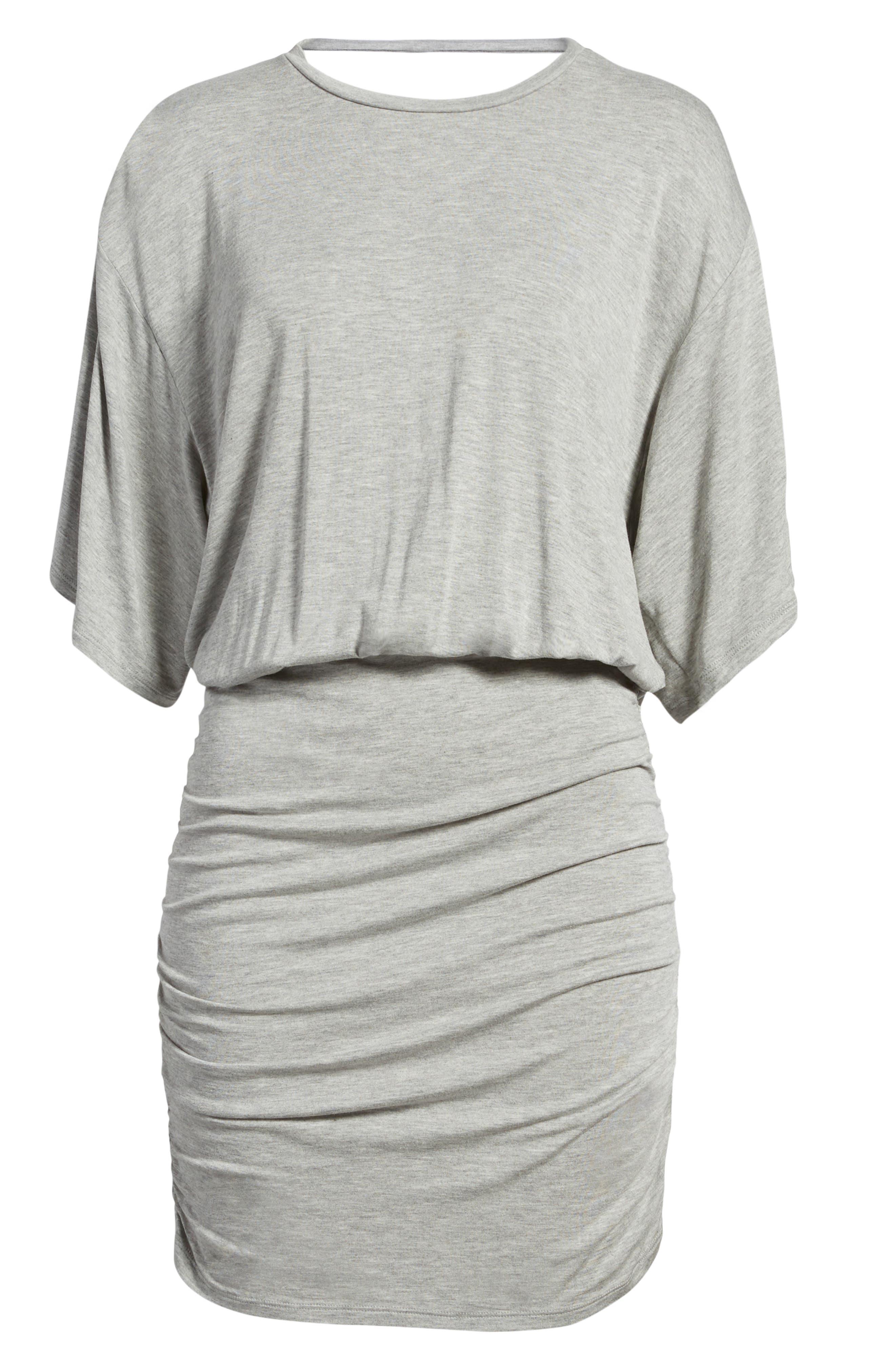 Open Back T-Shirt Dress,                             Alternate thumbnail 7, color,                             Heather Grey